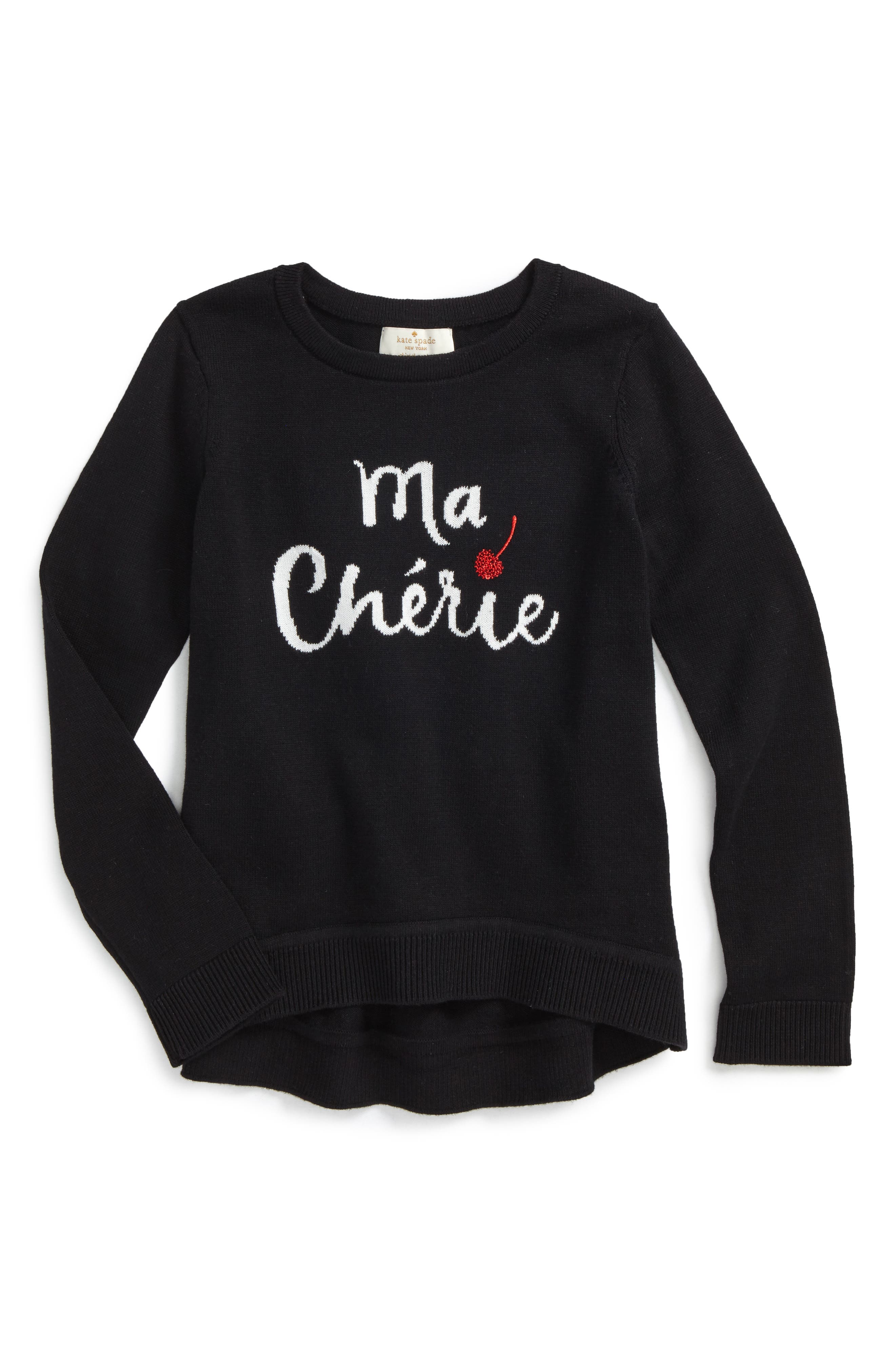 Main Image - kate spade new york ma chérie cotton sweater (Toddler Girls & Little Girls)