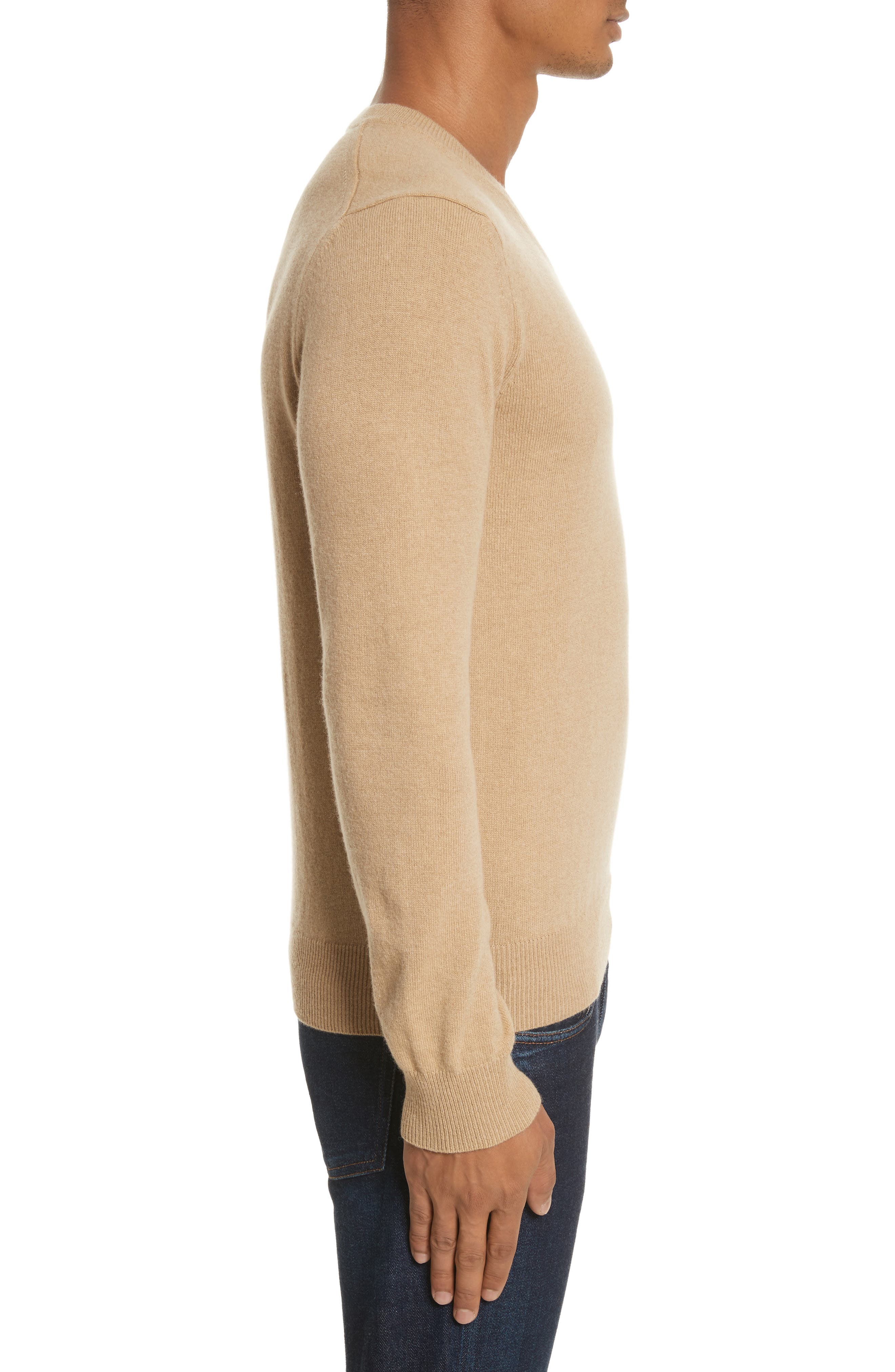 Comme des Garçons PLAY White Heart Wool V-Neck Sweater,                             Alternate thumbnail 3, color,                             Camel