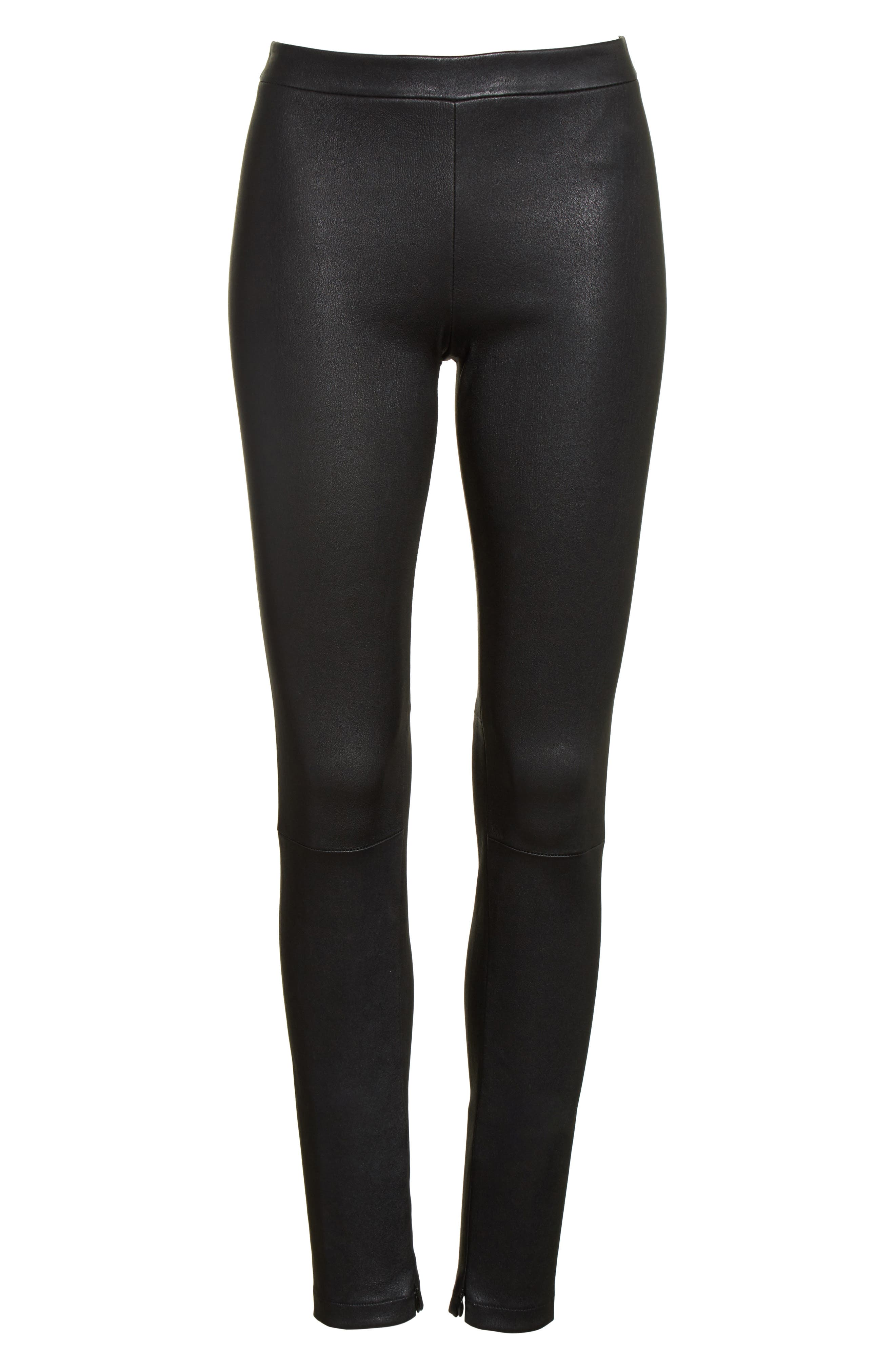 Zip Ankle Leather Leggings,                             Alternate thumbnail 6, color,                             Black