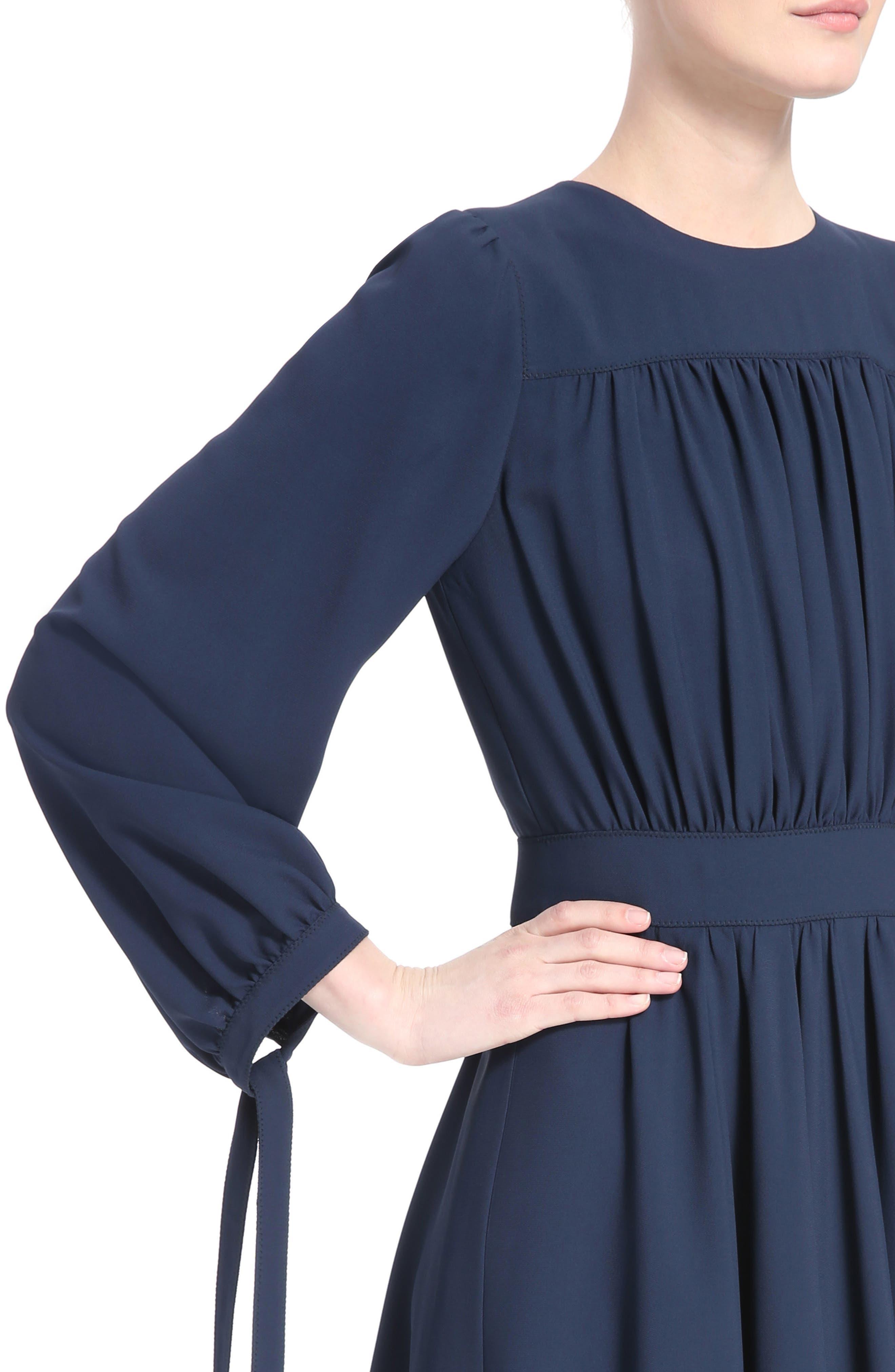 Pleated Tie Cuff Cady Dress,                             Alternate thumbnail 4, color,                             Dark Denim