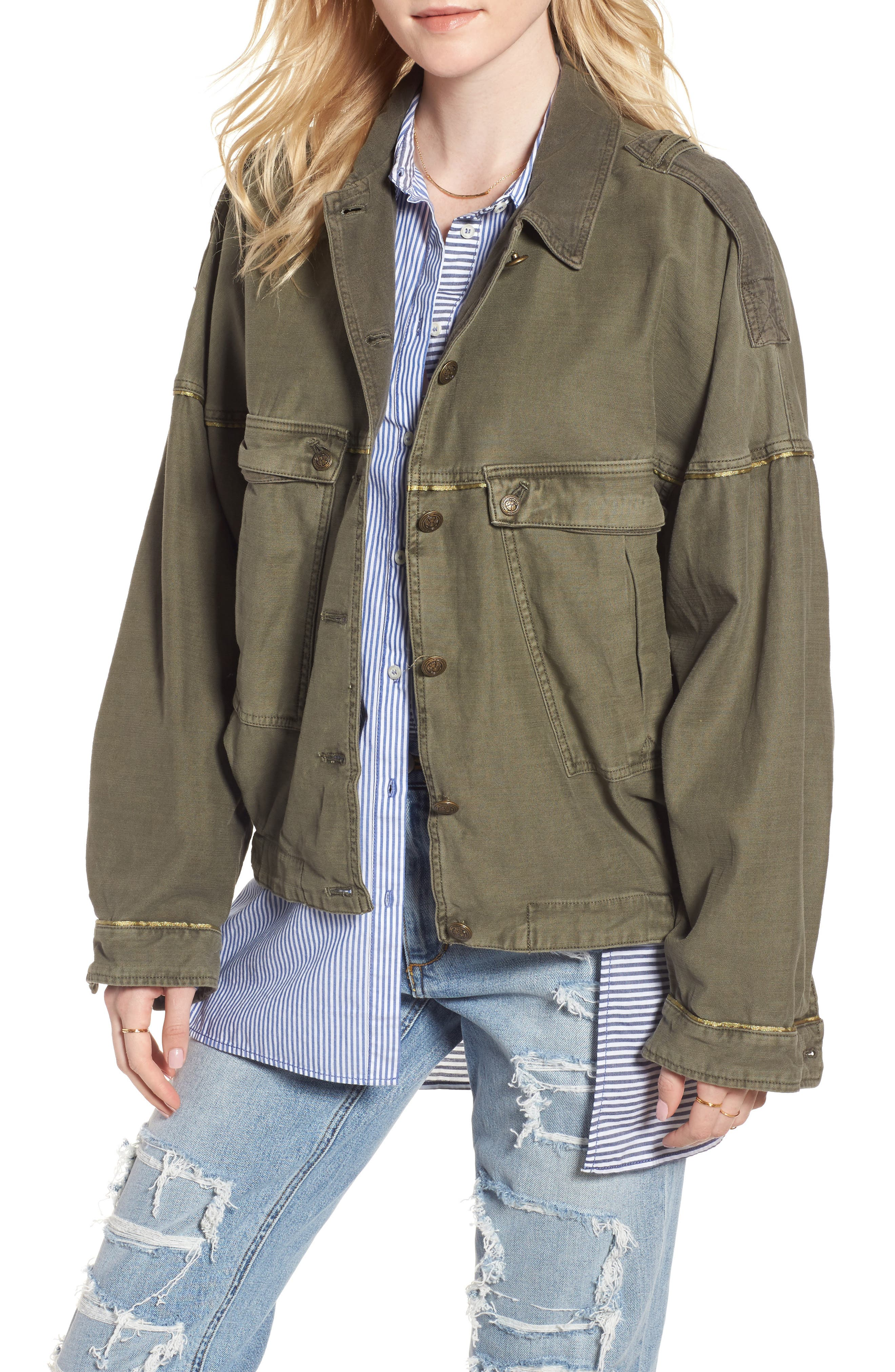 Slouchy Military Jacket,                         Main,                         color, Moss