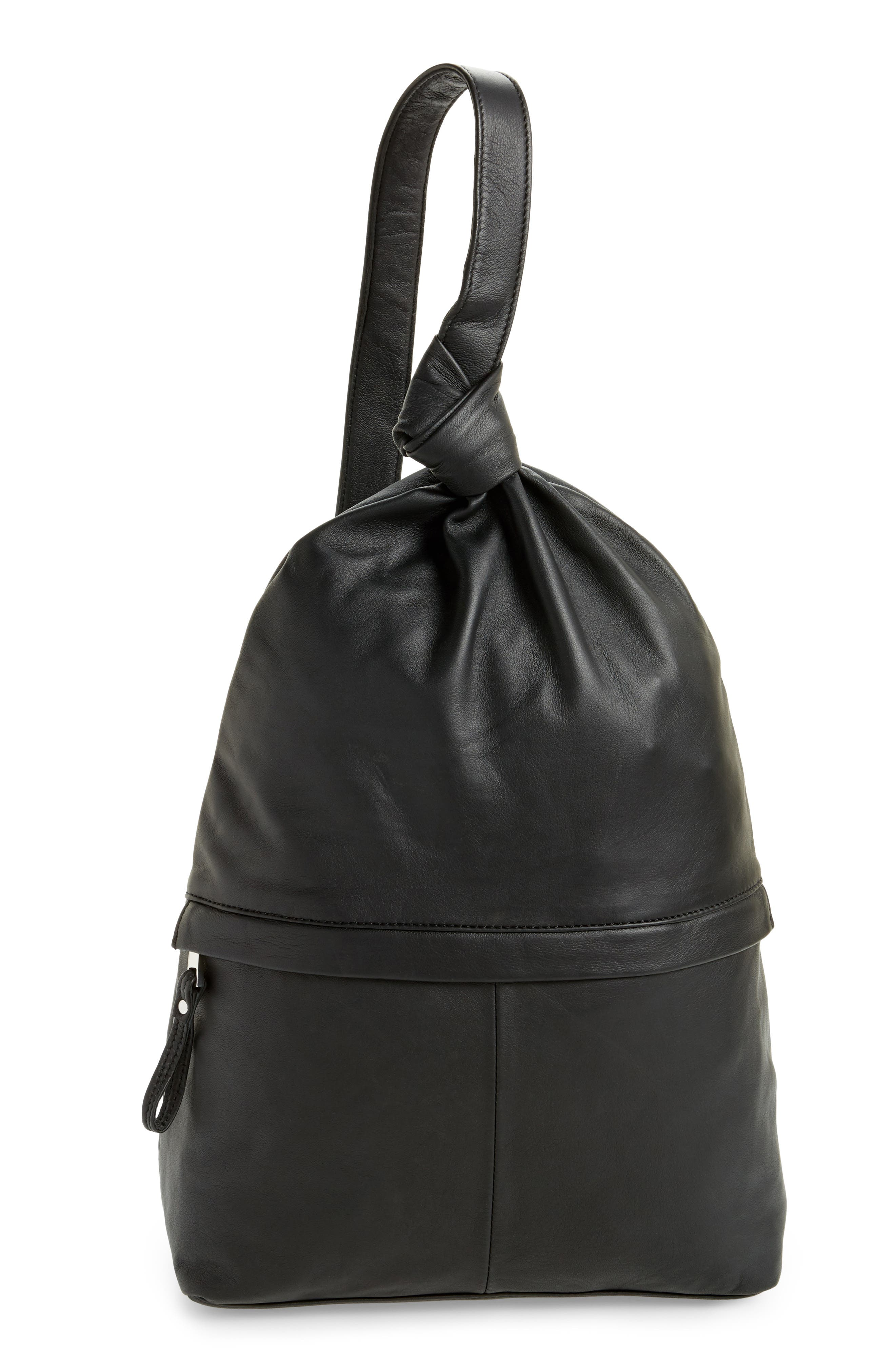 Premium Leather Slouch Knot Backpack,                             Main thumbnail 1, color,                             Black