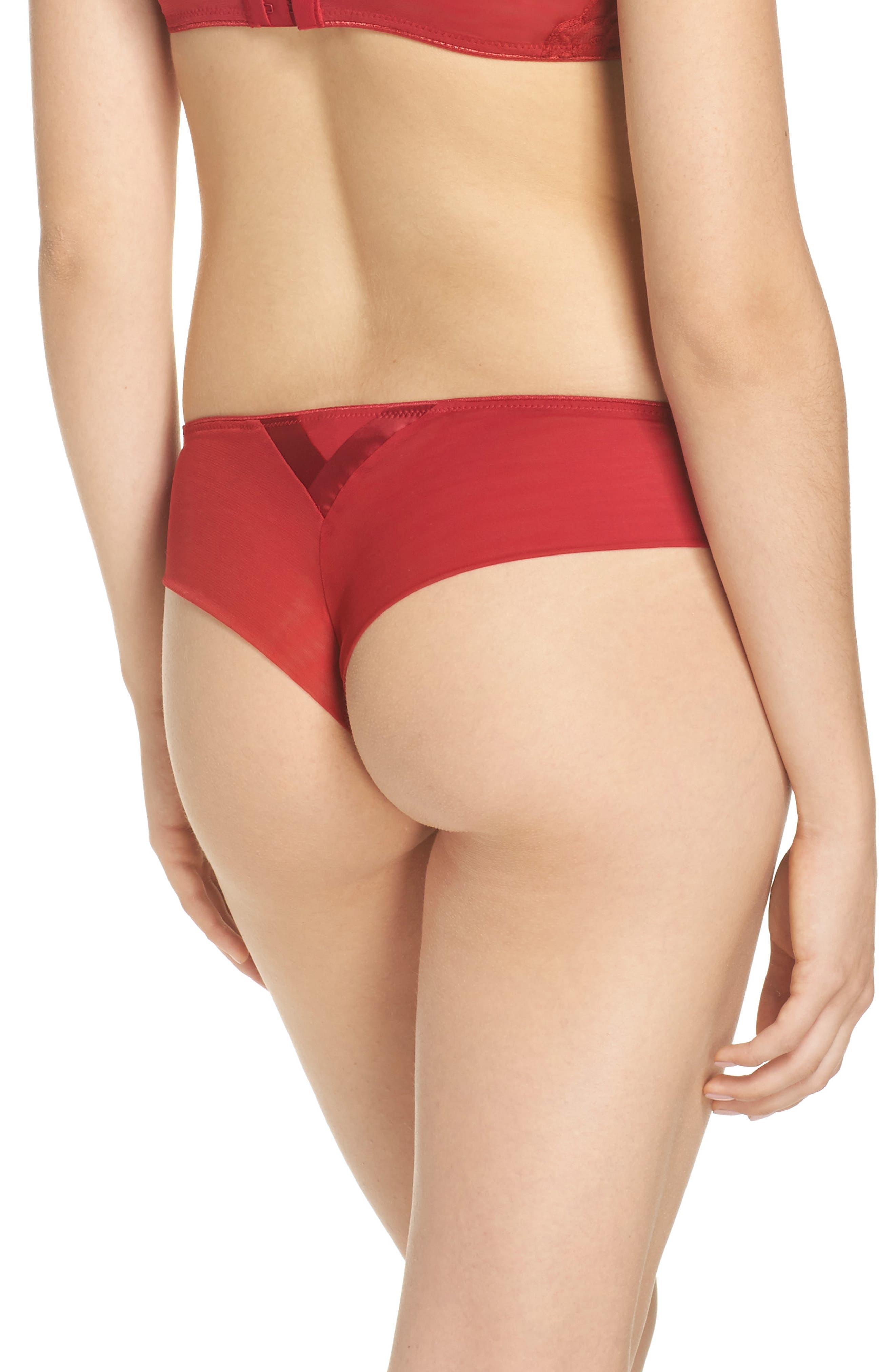 Chantelle Luxembourg Thong,                             Alternate thumbnail 2, color,                             Candy Apple