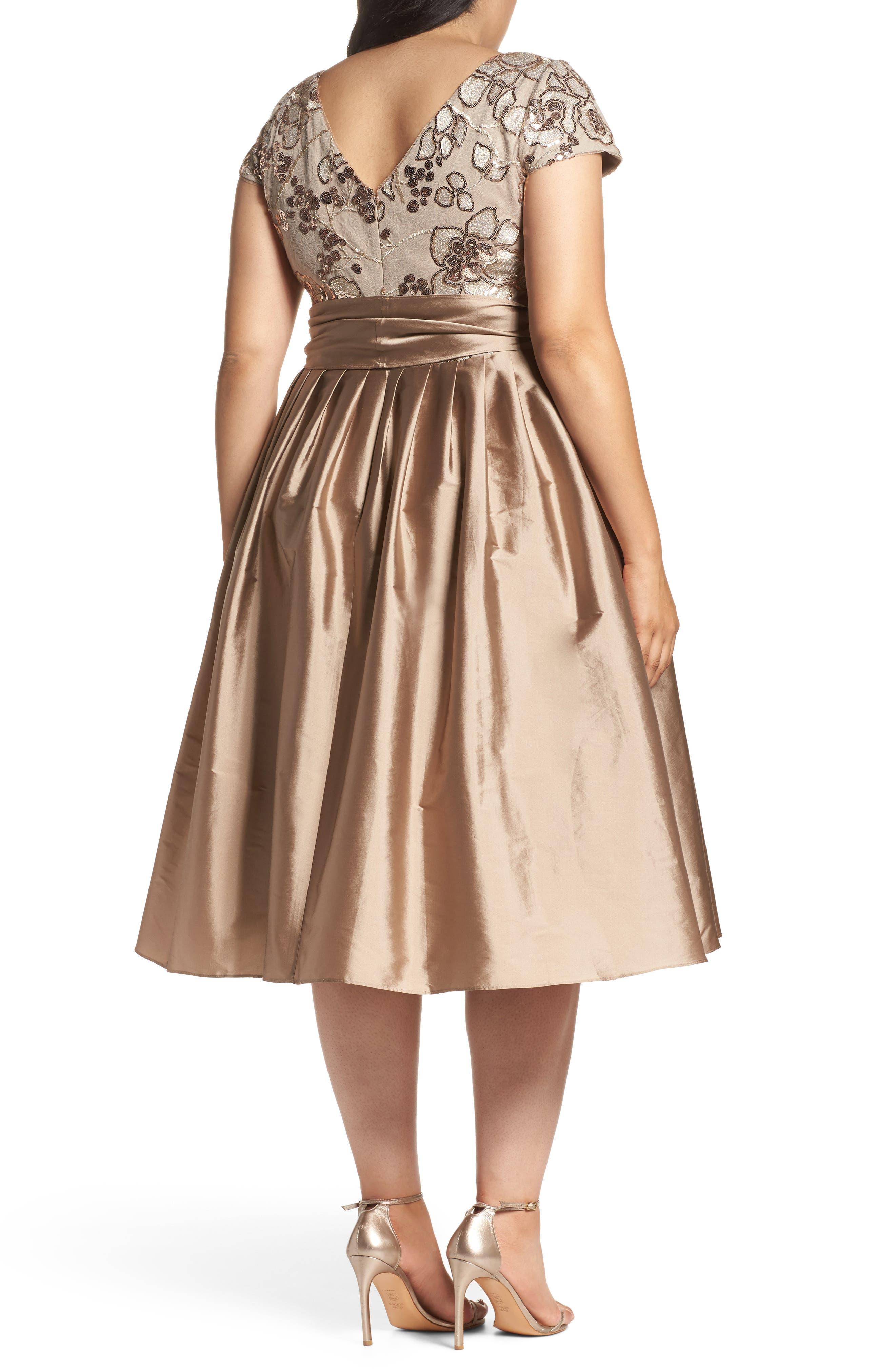 Alternate Image 2  - Adrianna Papell Embellished Bodice Party Dress (Plus Size)