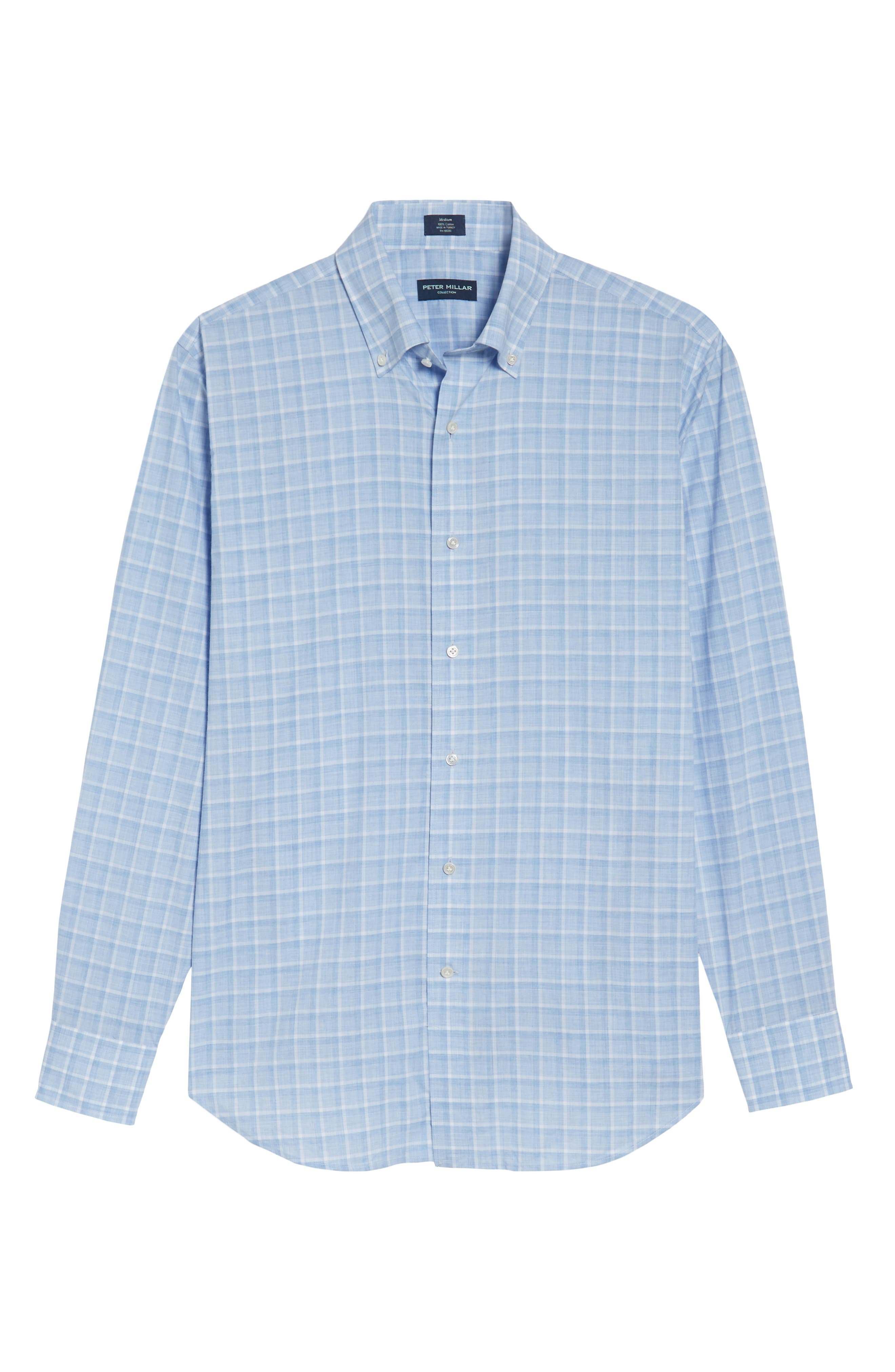 Starry Night Tailored Fit Mélange Check Sport Shirt,                             Alternate thumbnail 6, color,                             Blue Ceillo