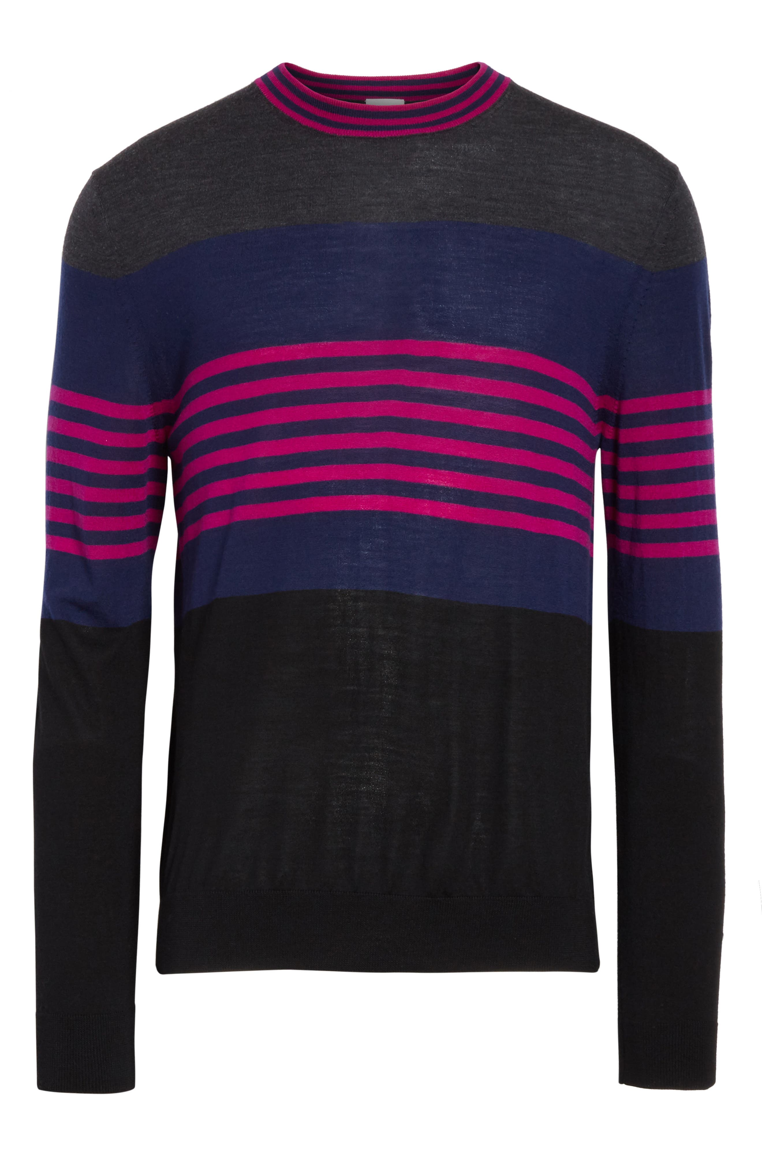 Stripe Merino Wool Crewneck Sweater,                             Alternate thumbnail 6, color,                             Grey Multi