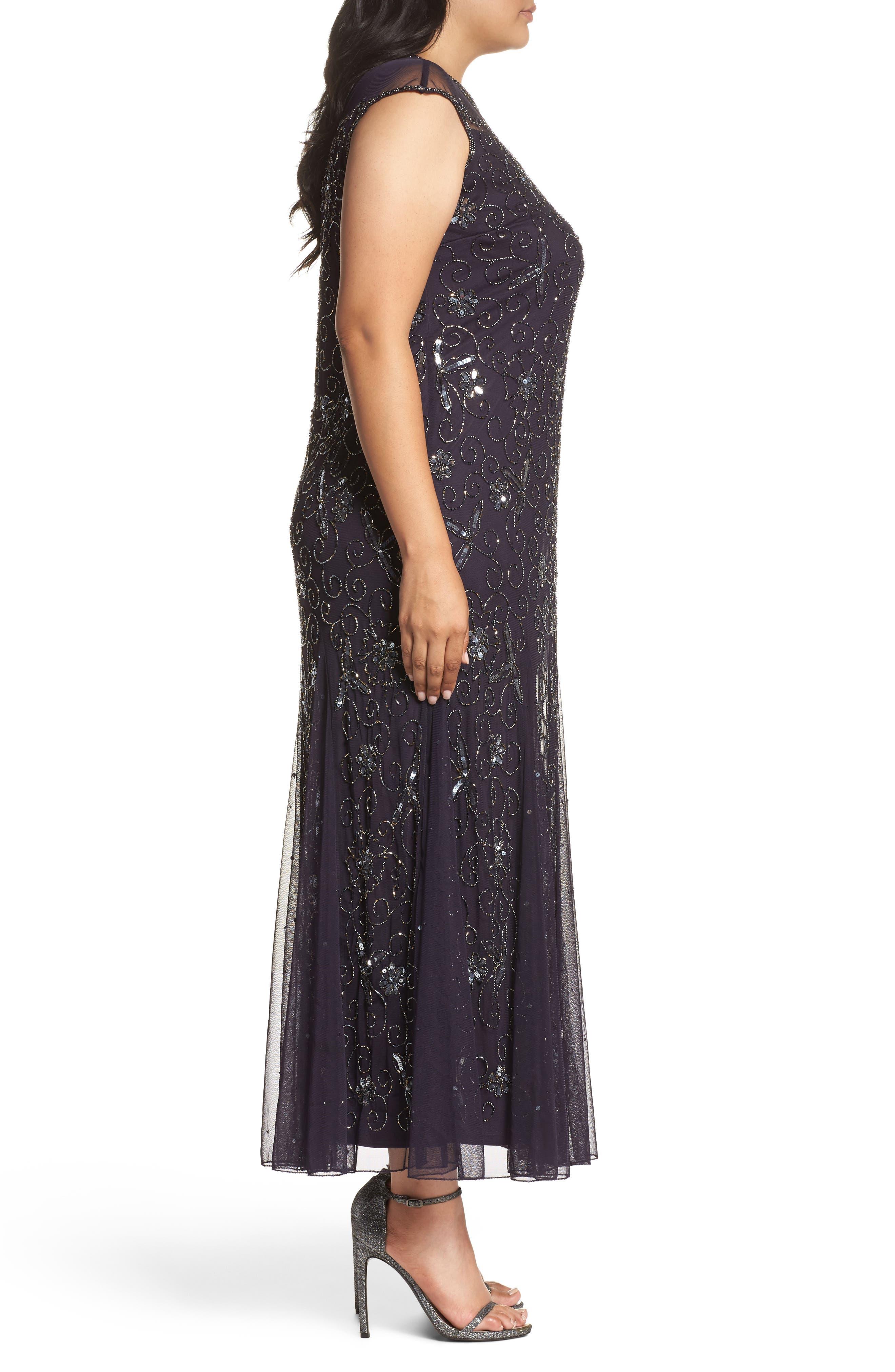 Alternate Image 3  - Pisarro Nights Embellished Mesh Godet Gown (Plus Size)