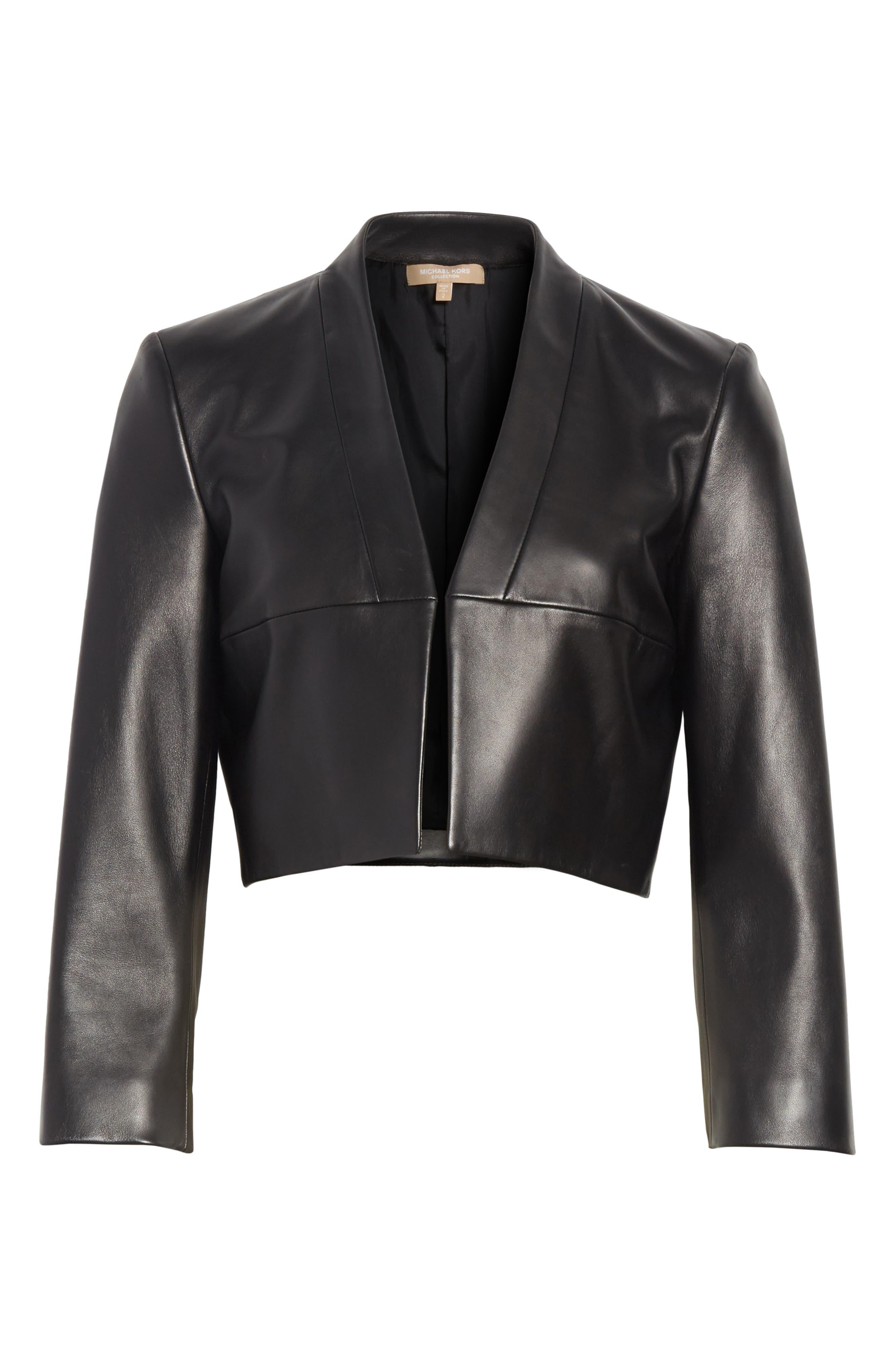 Plongé Leather Bolero Jacket,                             Alternate thumbnail 6, color,                             Black