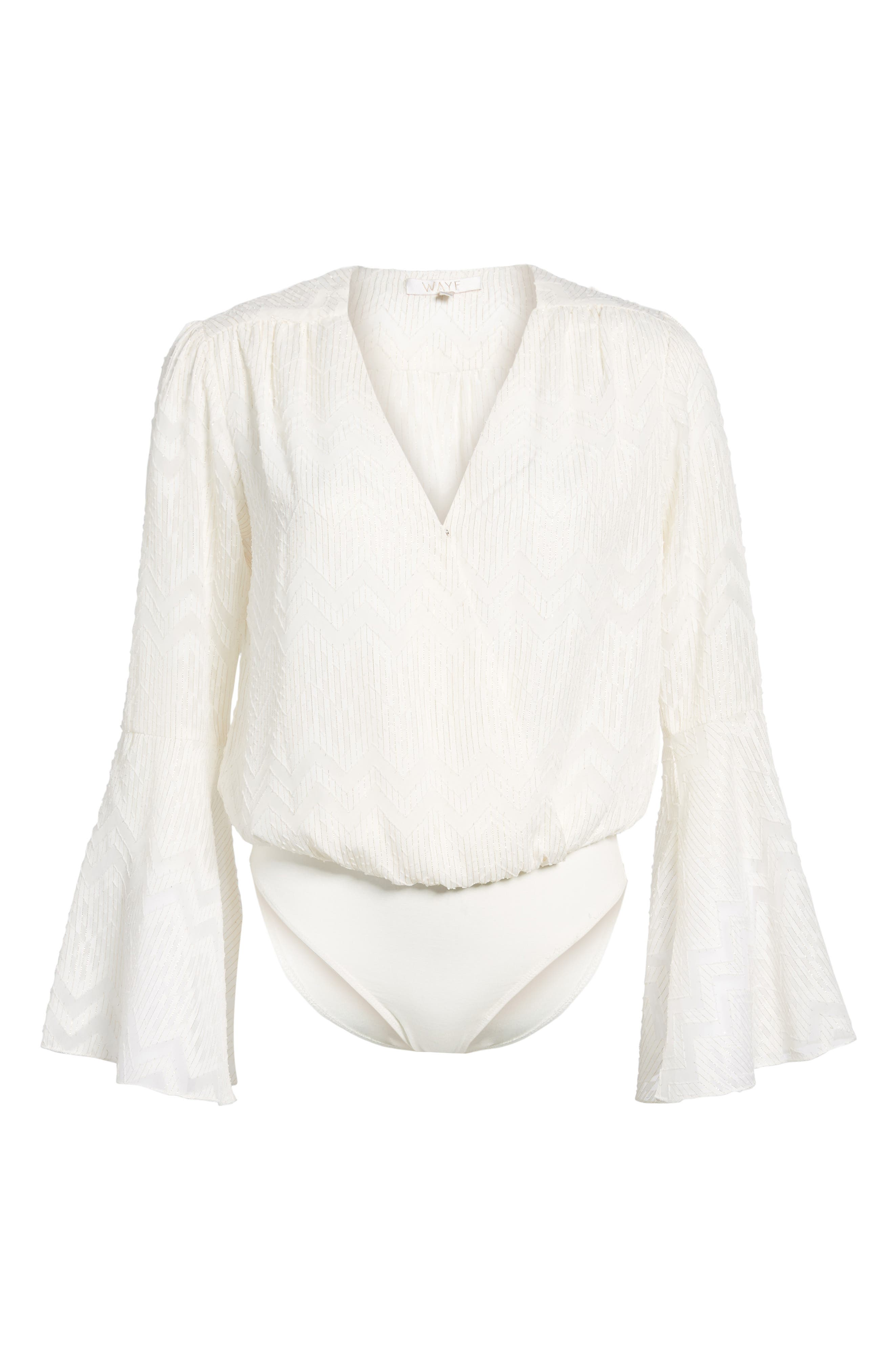 Christi Bell Sleeve Bodysuit,                             Alternate thumbnail 6, color,                             Ivory Clip