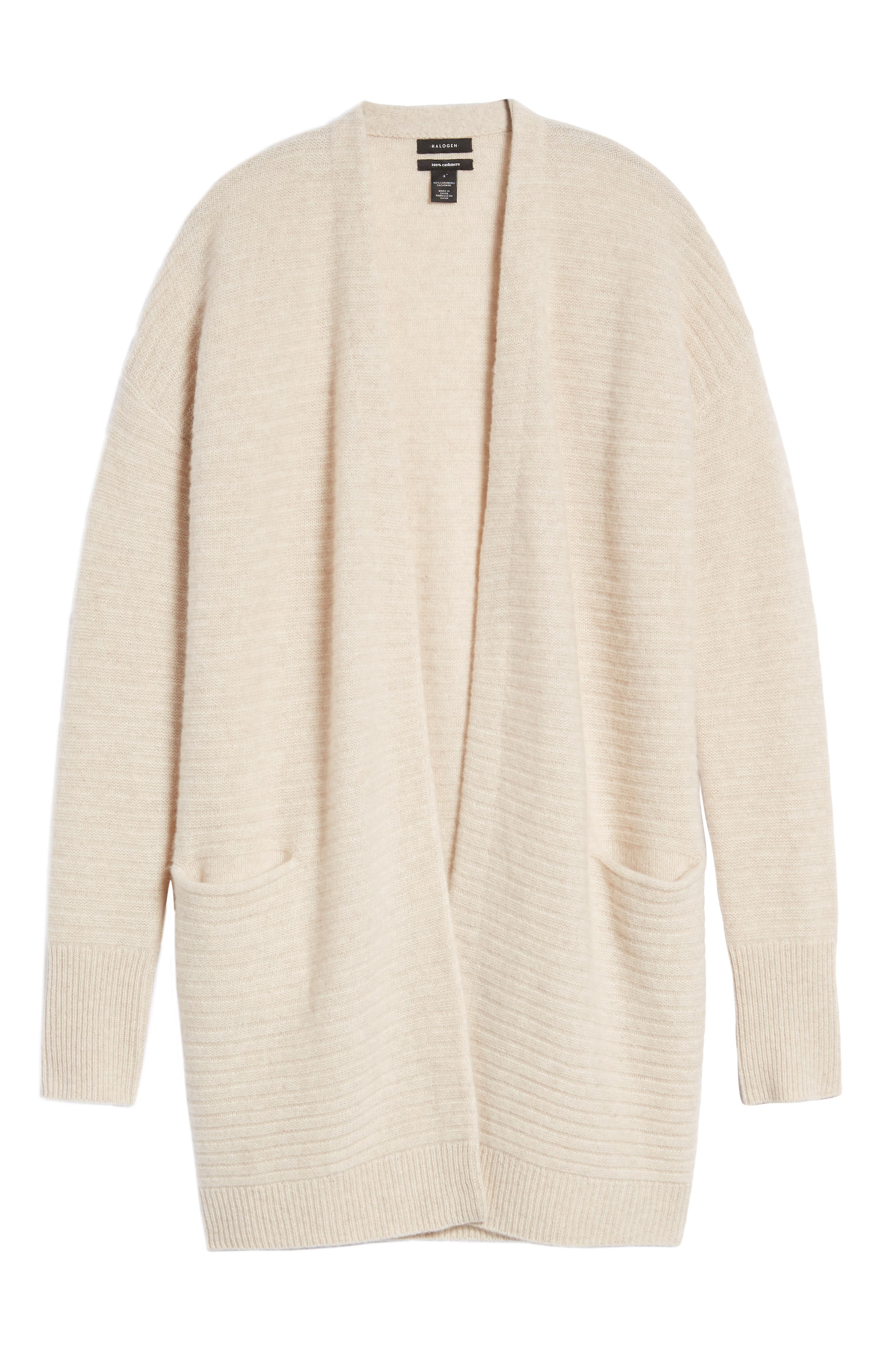 Ribbed Cashmere Cardigan,                             Alternate thumbnail 6, color,                             Heather Oatmeal