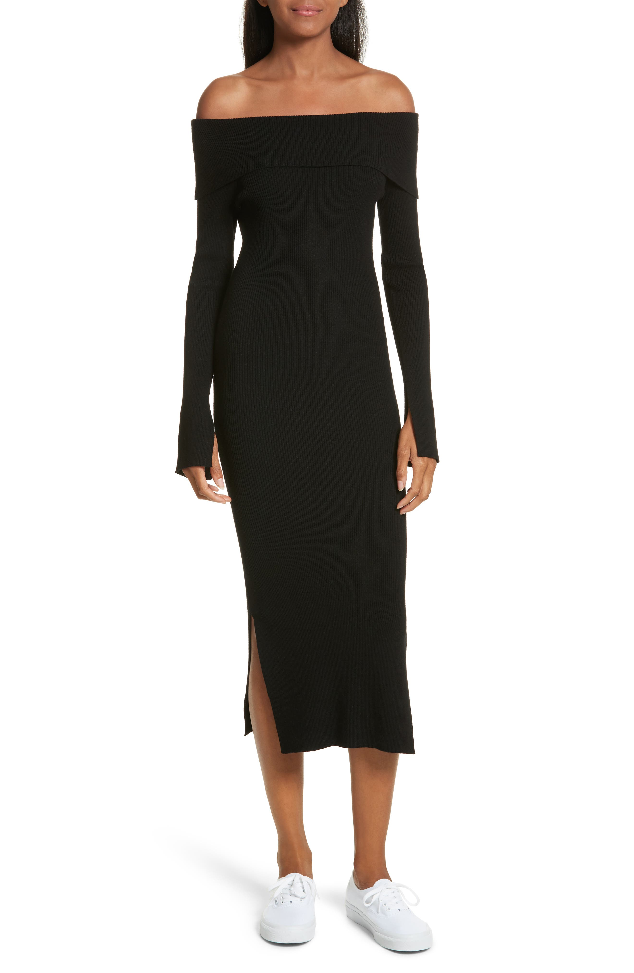 Off the Shoulder Ribbed Maxi Dress,                         Main,                         color, Black