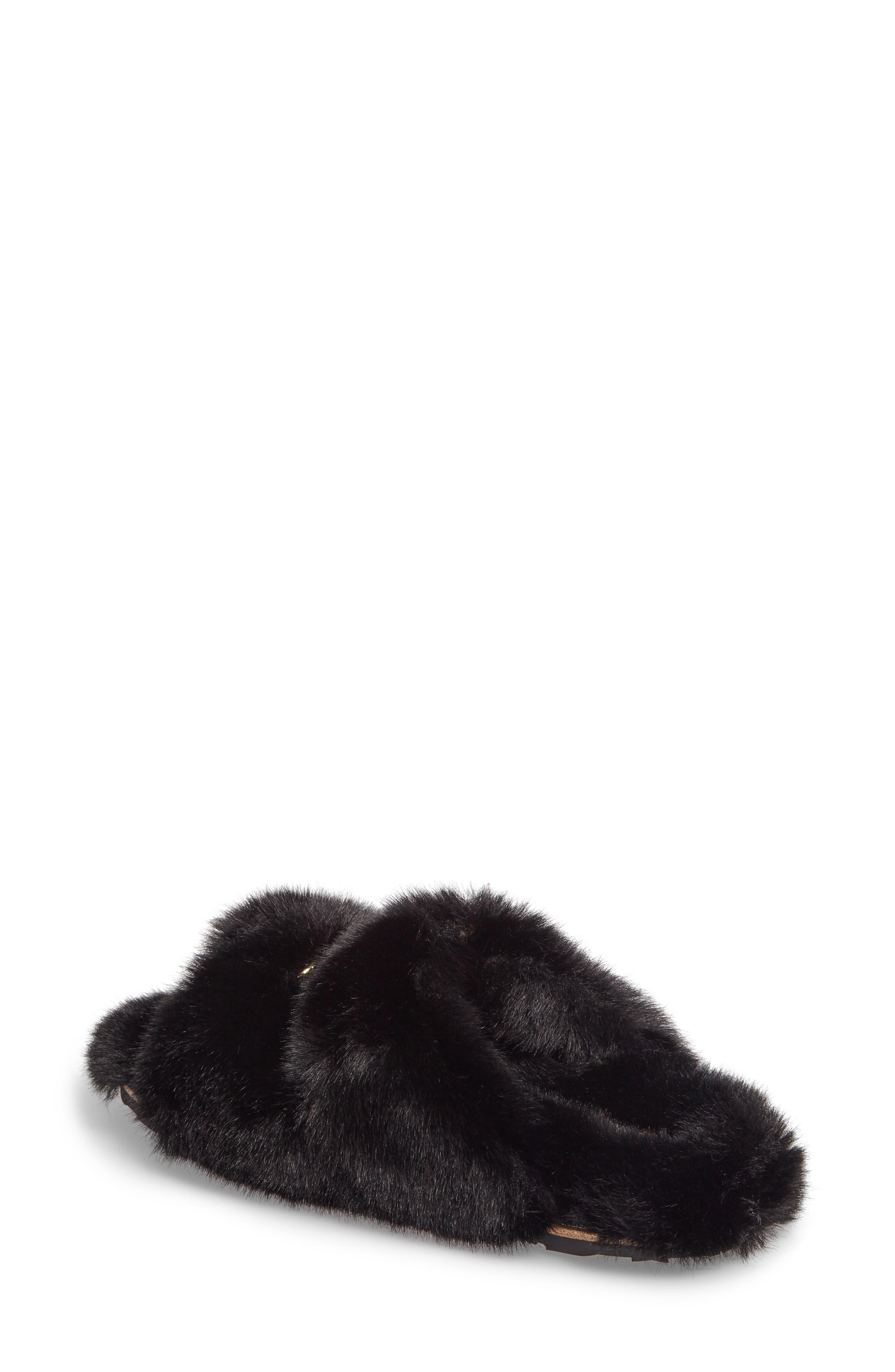 Faux Fur Sandal,                             Alternate thumbnail 2, color,                             Black