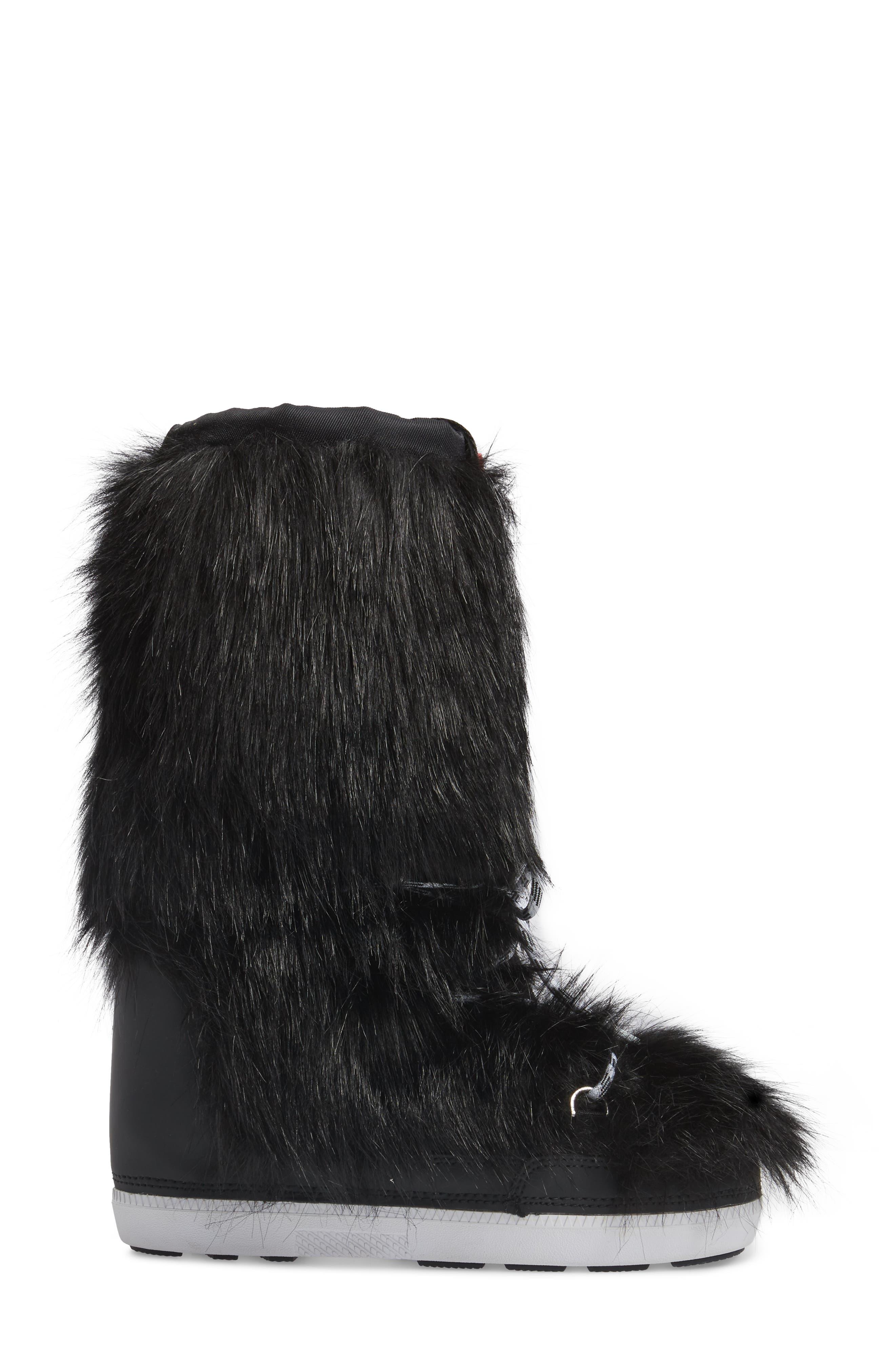 Snow Original Faux Fur Boot,                             Alternate thumbnail 3, color,                             Black