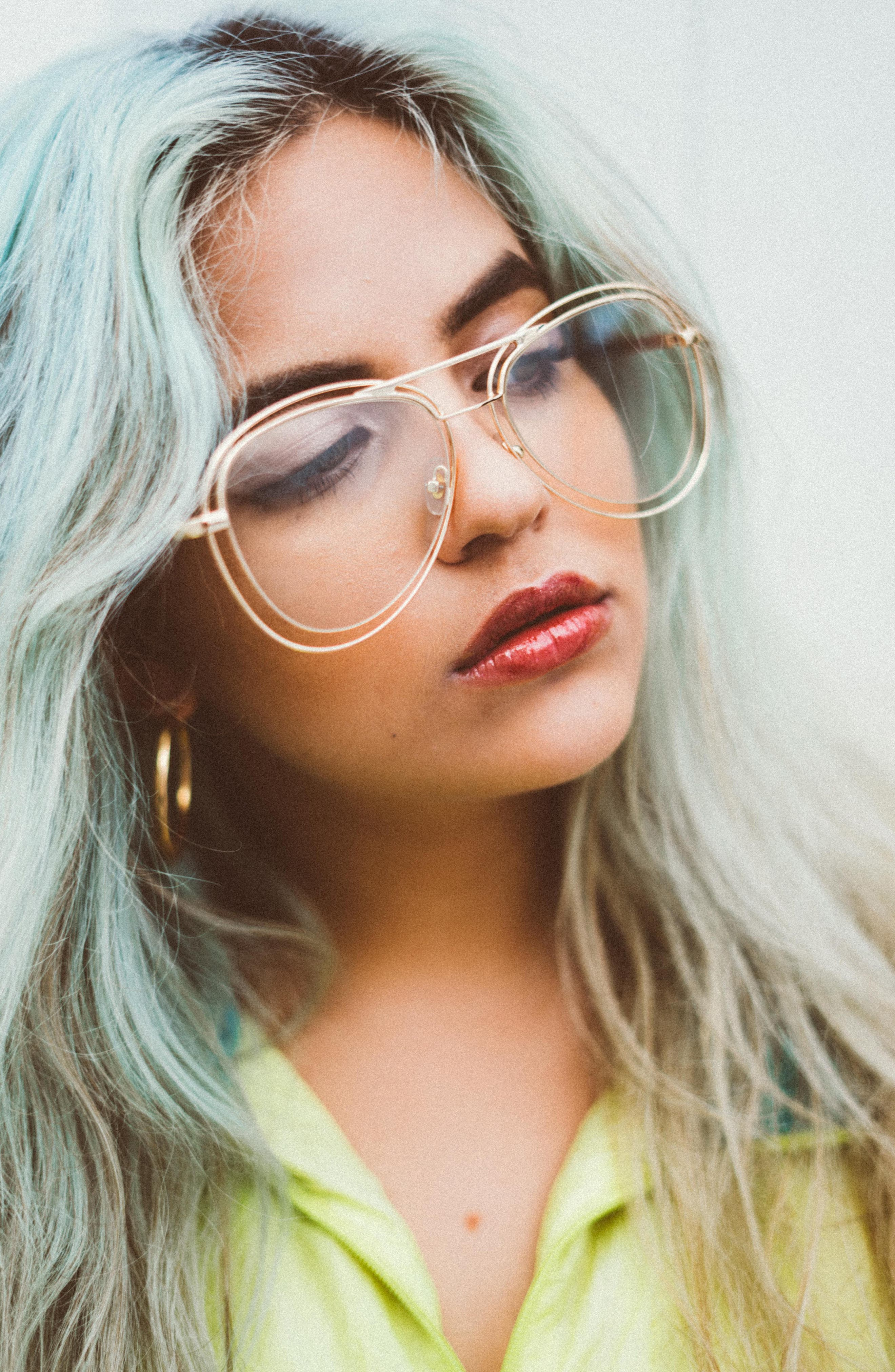 55mm Aviator Fashion Glasses,                             Alternate thumbnail 5, color,                             Gold