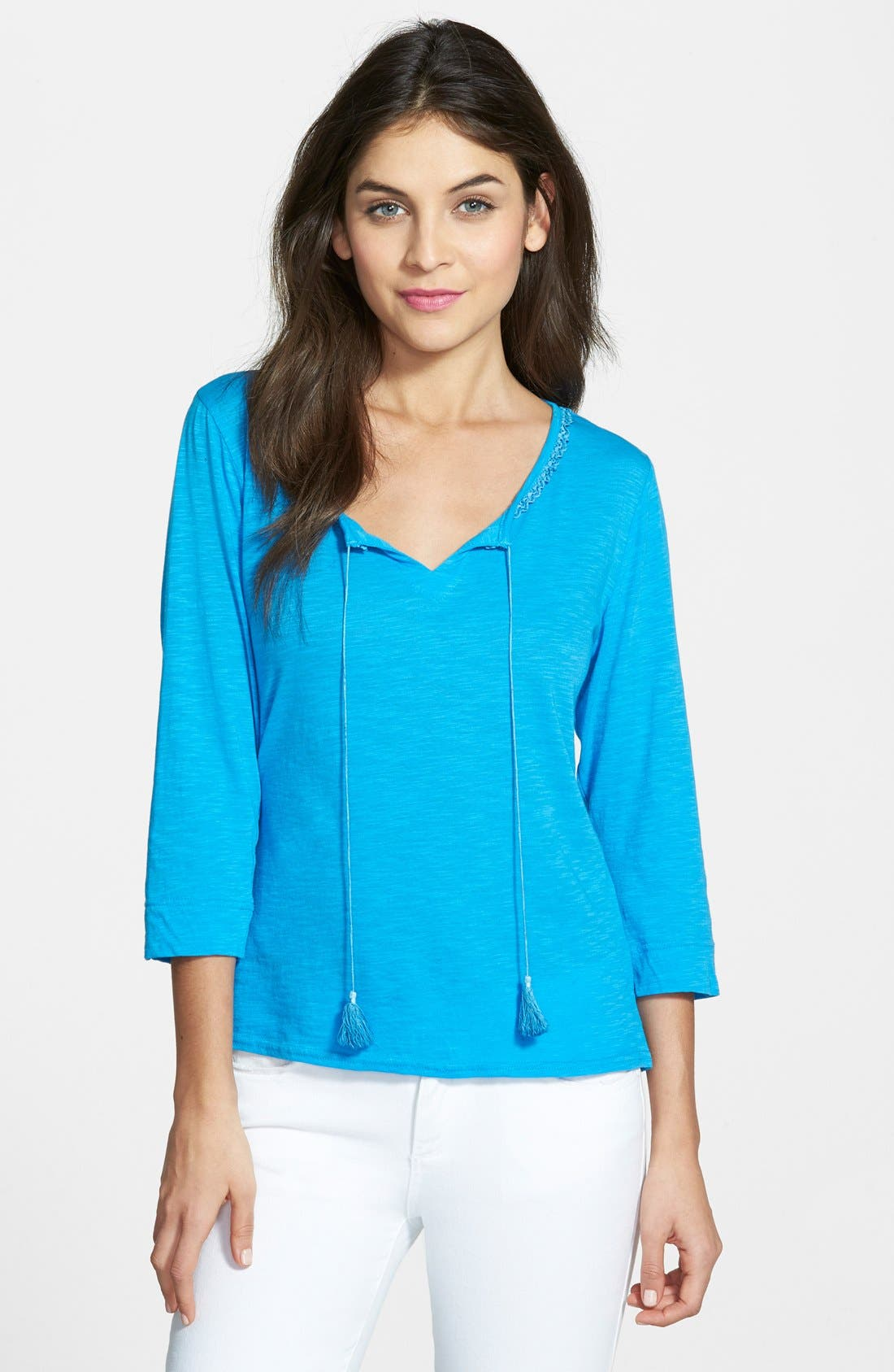 Main Image - Two by Vince Camuto Slub Jersey Tie Front Top
