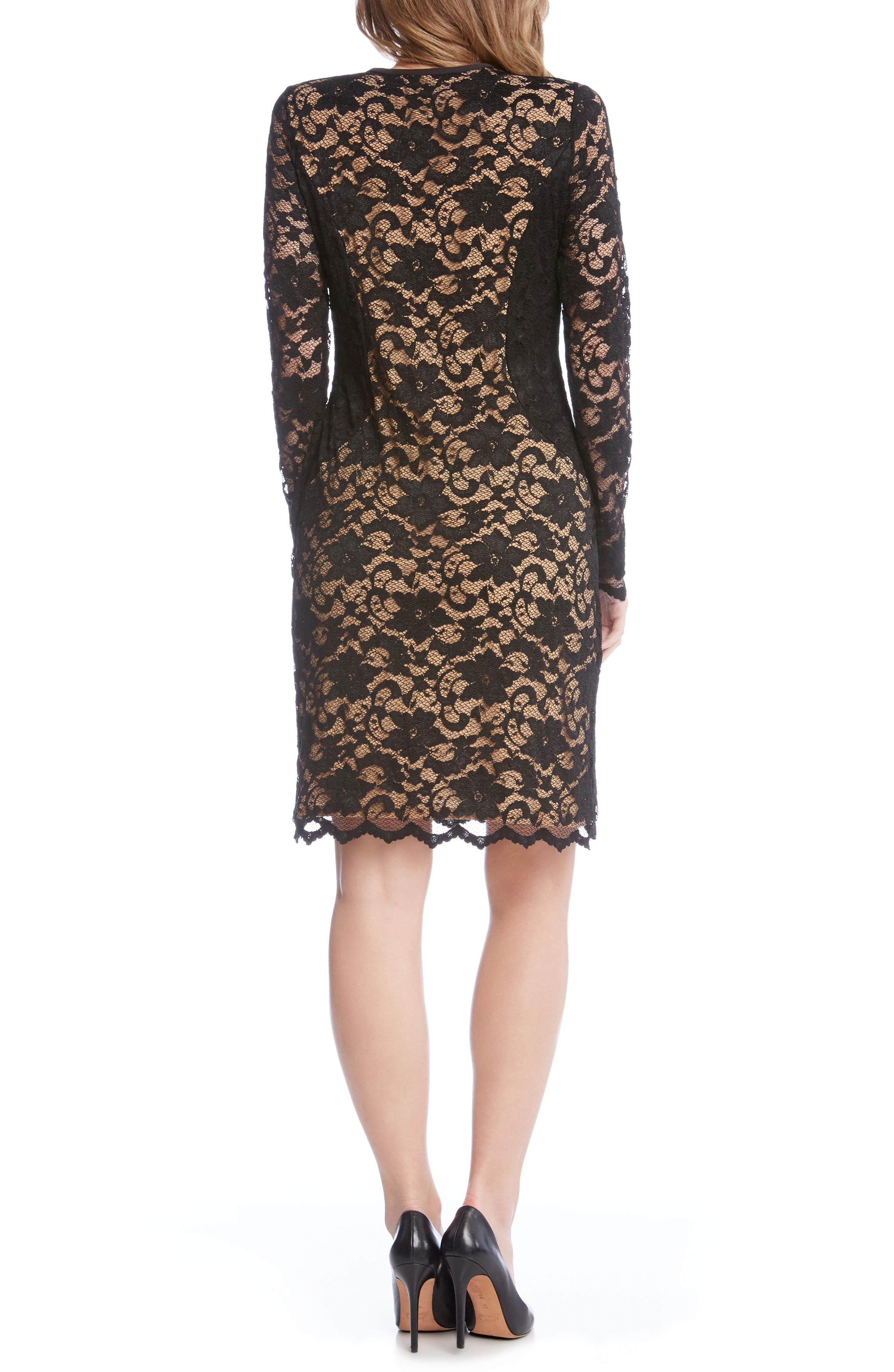 Contrast Side Lace Sheath Dress,                             Alternate thumbnail 2, color,                             Black/ Nude