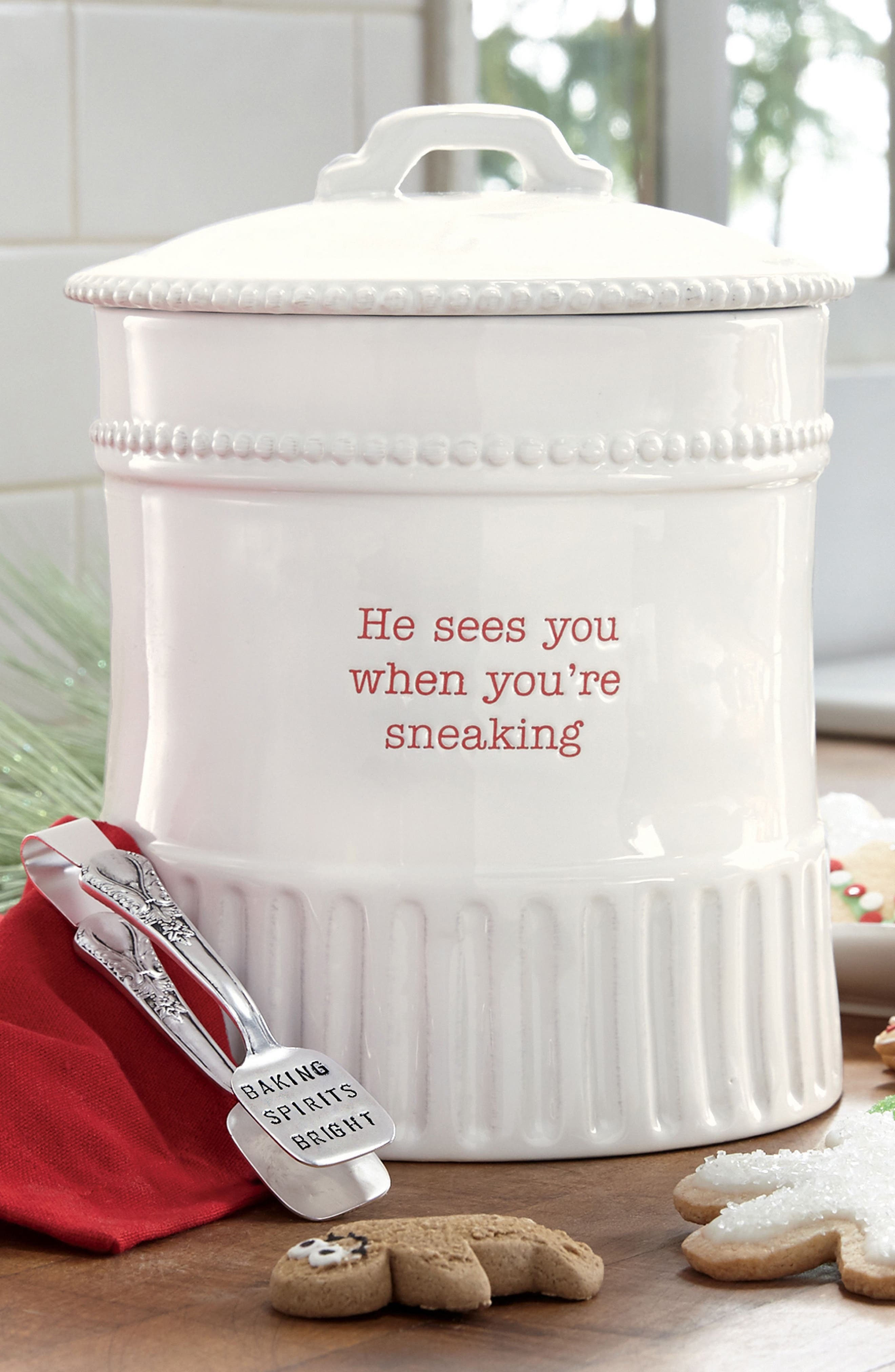 Holiday Stoneware Cookie Jar & Tongs,                             Alternate thumbnail 2, color,                             White
