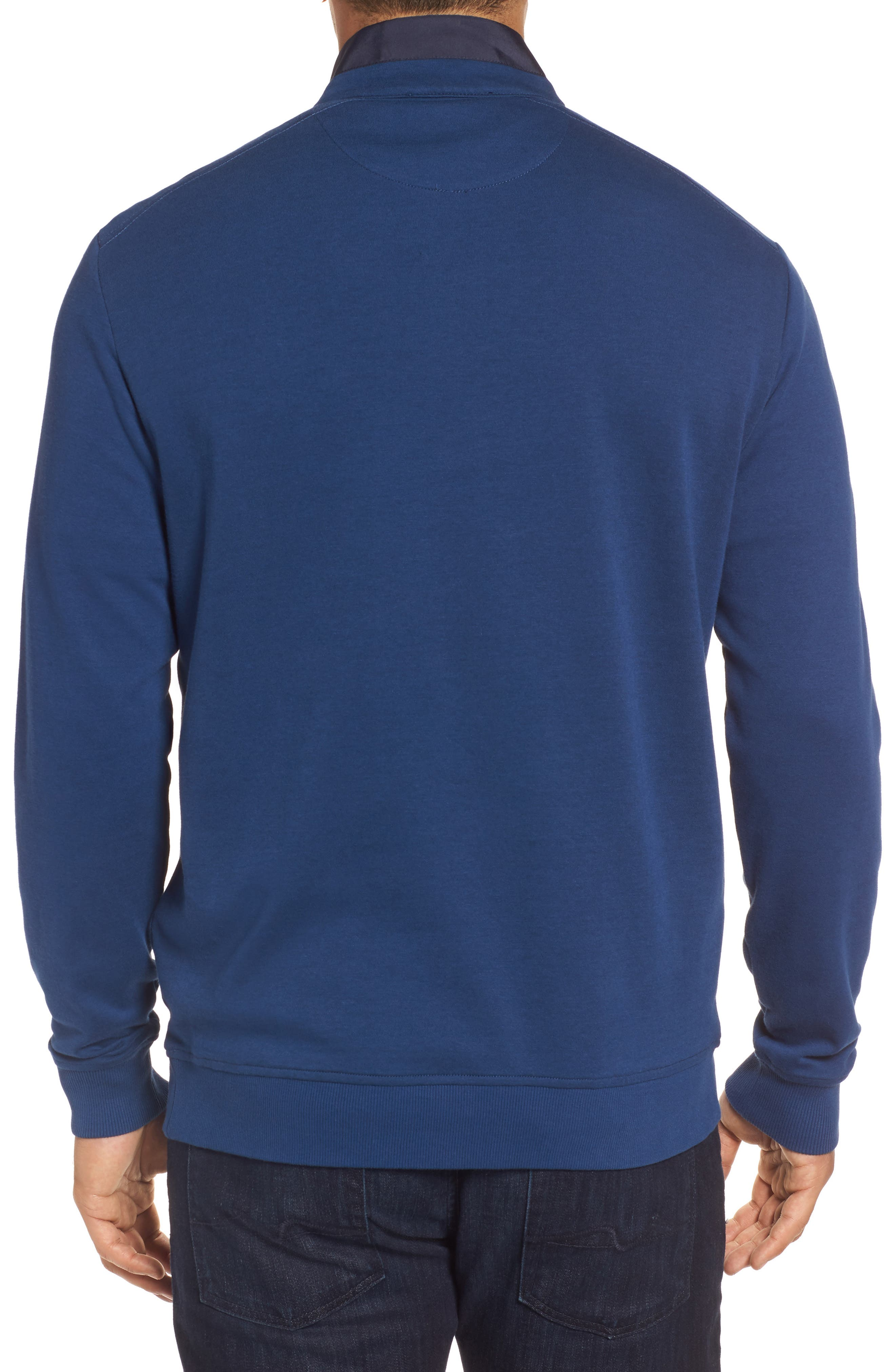 Classic Fit Solid Quarter Zip Pullover,                             Alternate thumbnail 2, color,                             Navy