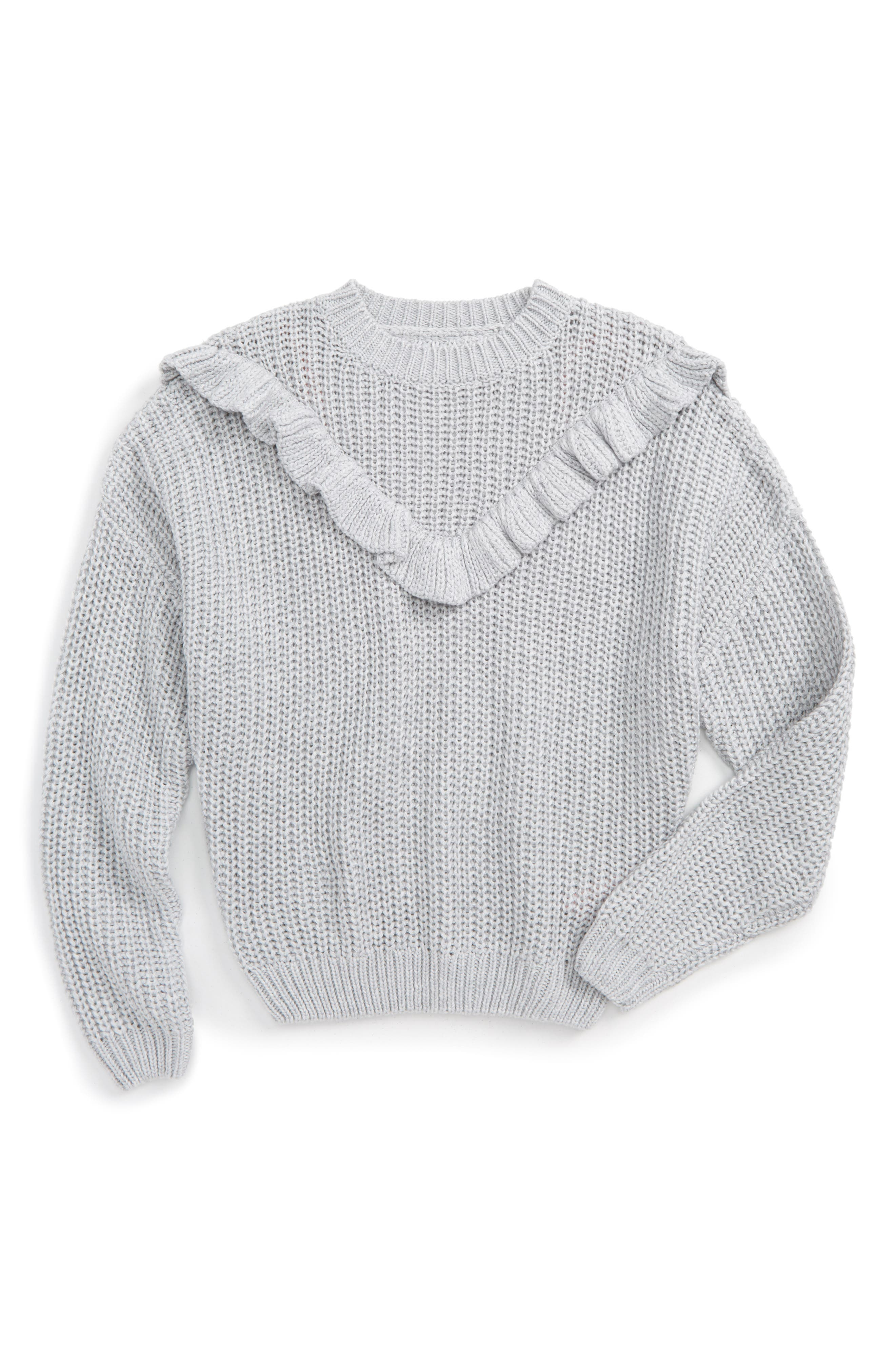 Alternate Image 1 Selected - BLANCNYC Ruffle Sweater (Big Girls)