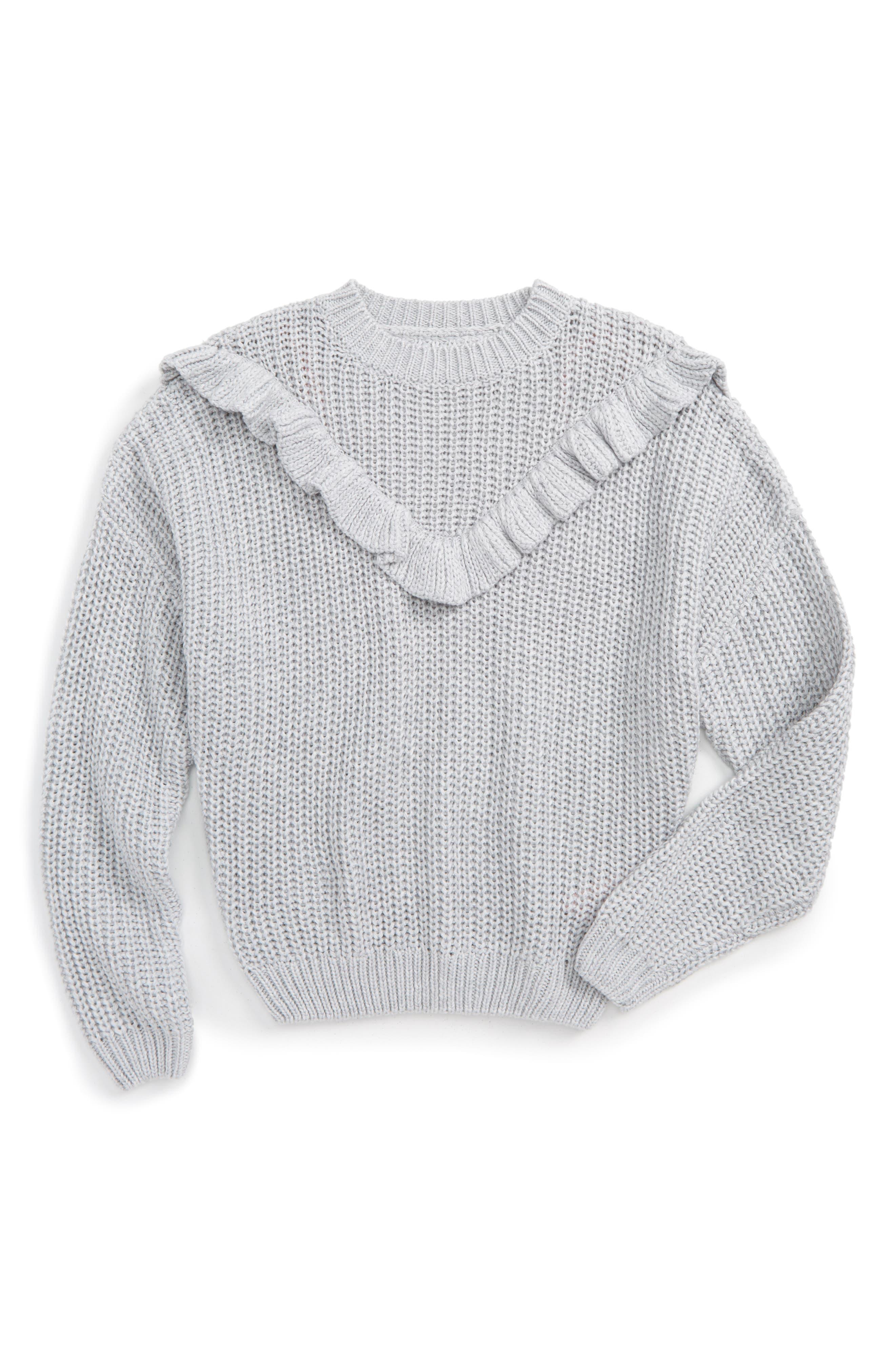 BLANCNYC Ruffle Sweater,                         Main,                         color, Grey
