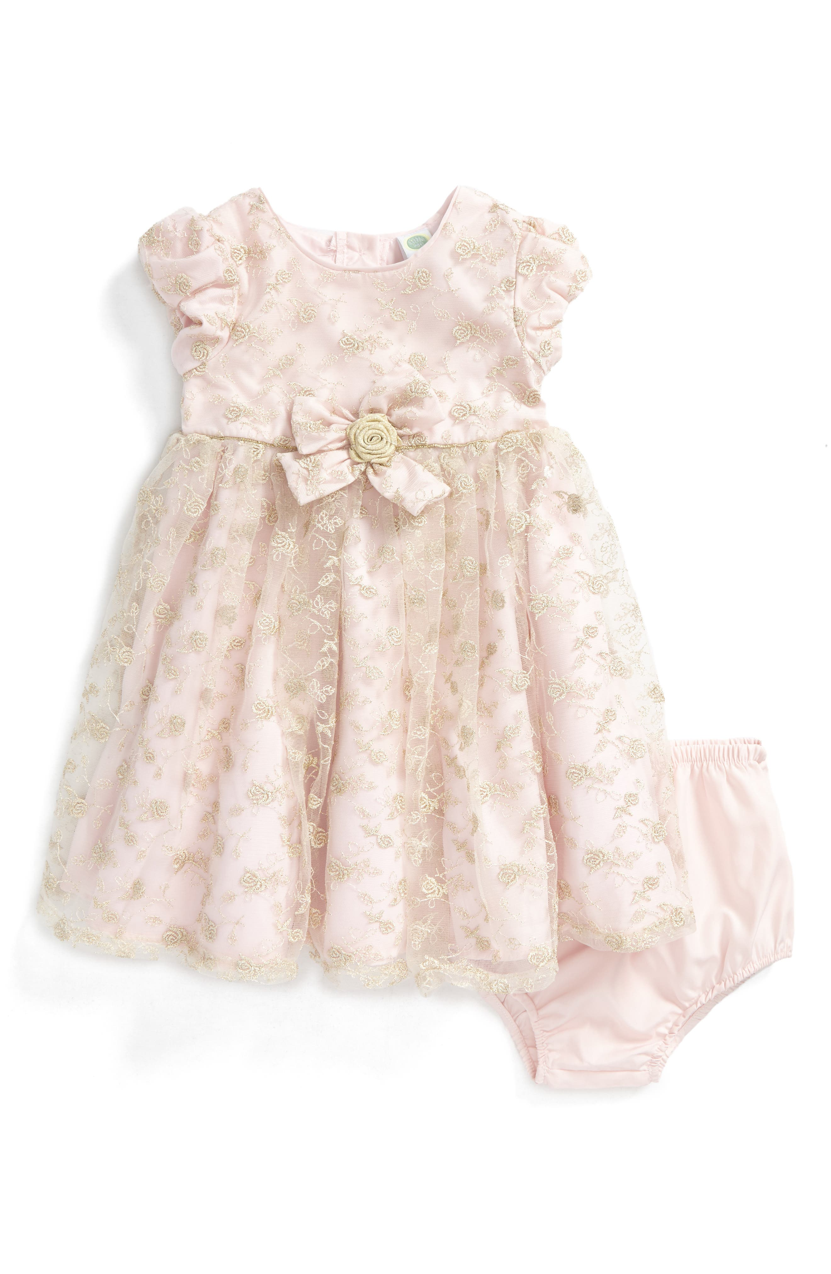 Main Image - Little Me Floral Embroidery Dress (Baby Girls)