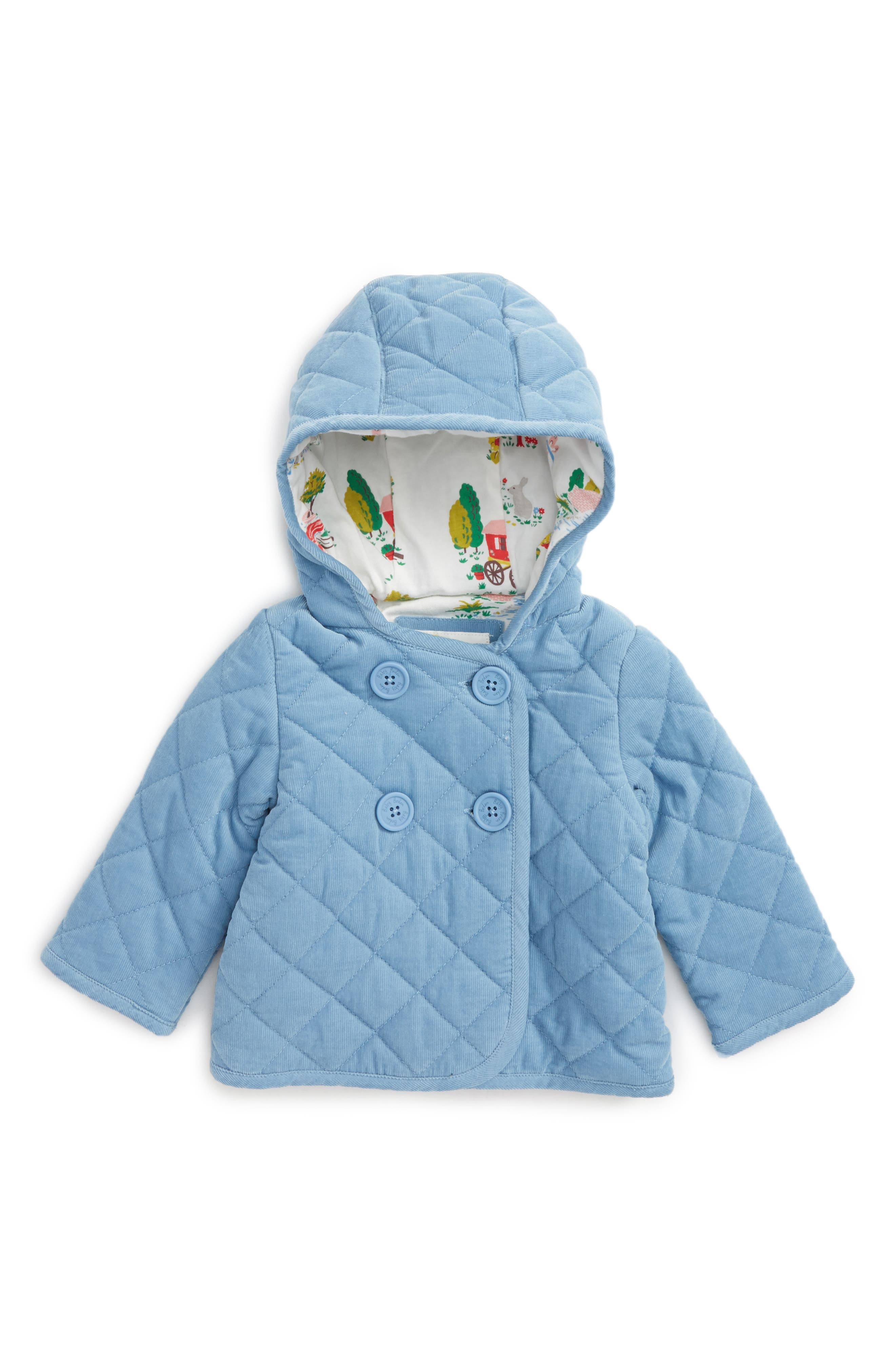 Main Image - Mini Boden Pretty Quilted Corduroy Hooded Jacket (Baby Girls & Toddler Girls)