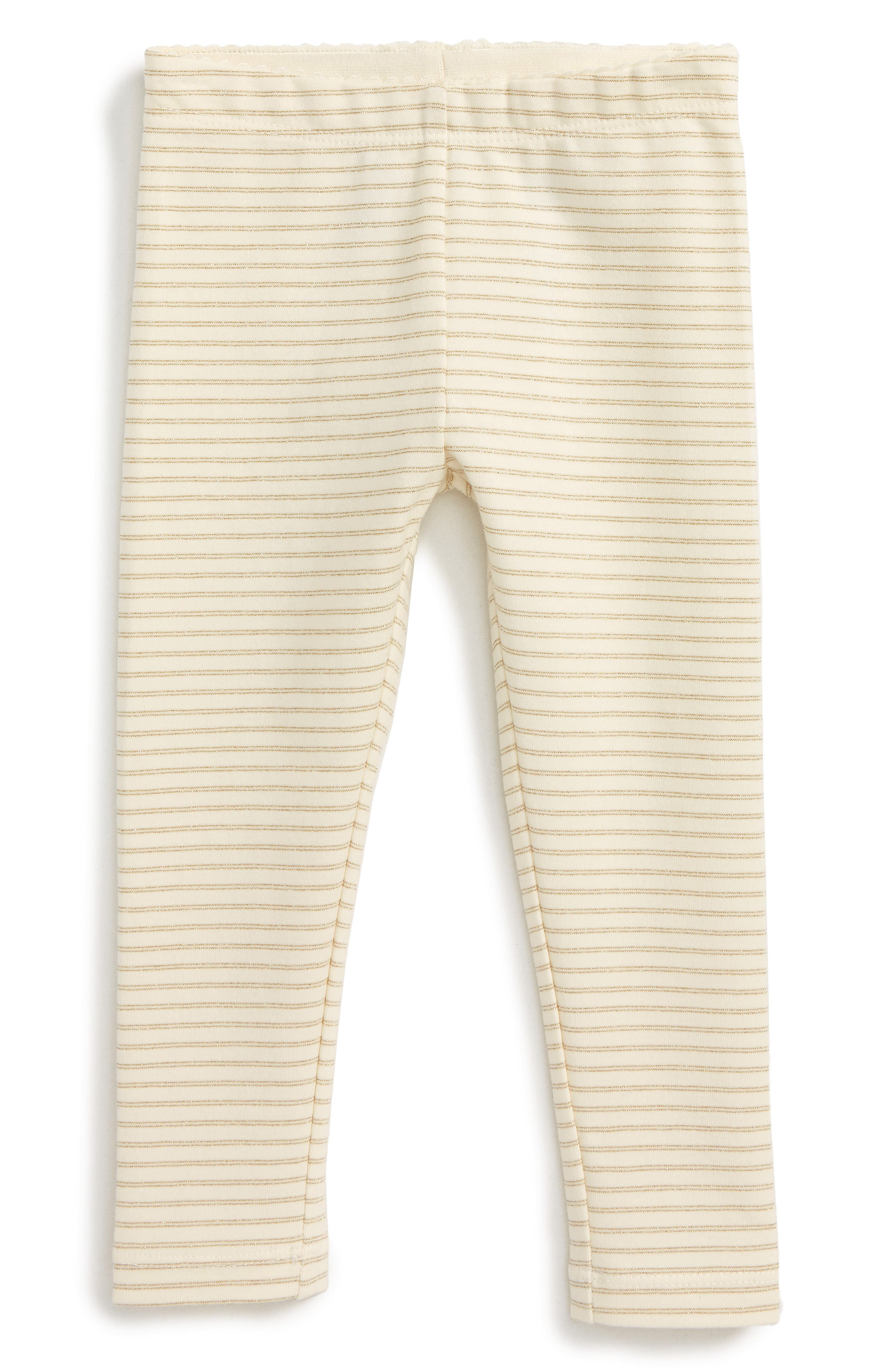 Alternate Image 1 Selected - Tea Collection Sparkle Stripe Leggings (Baby Girls)