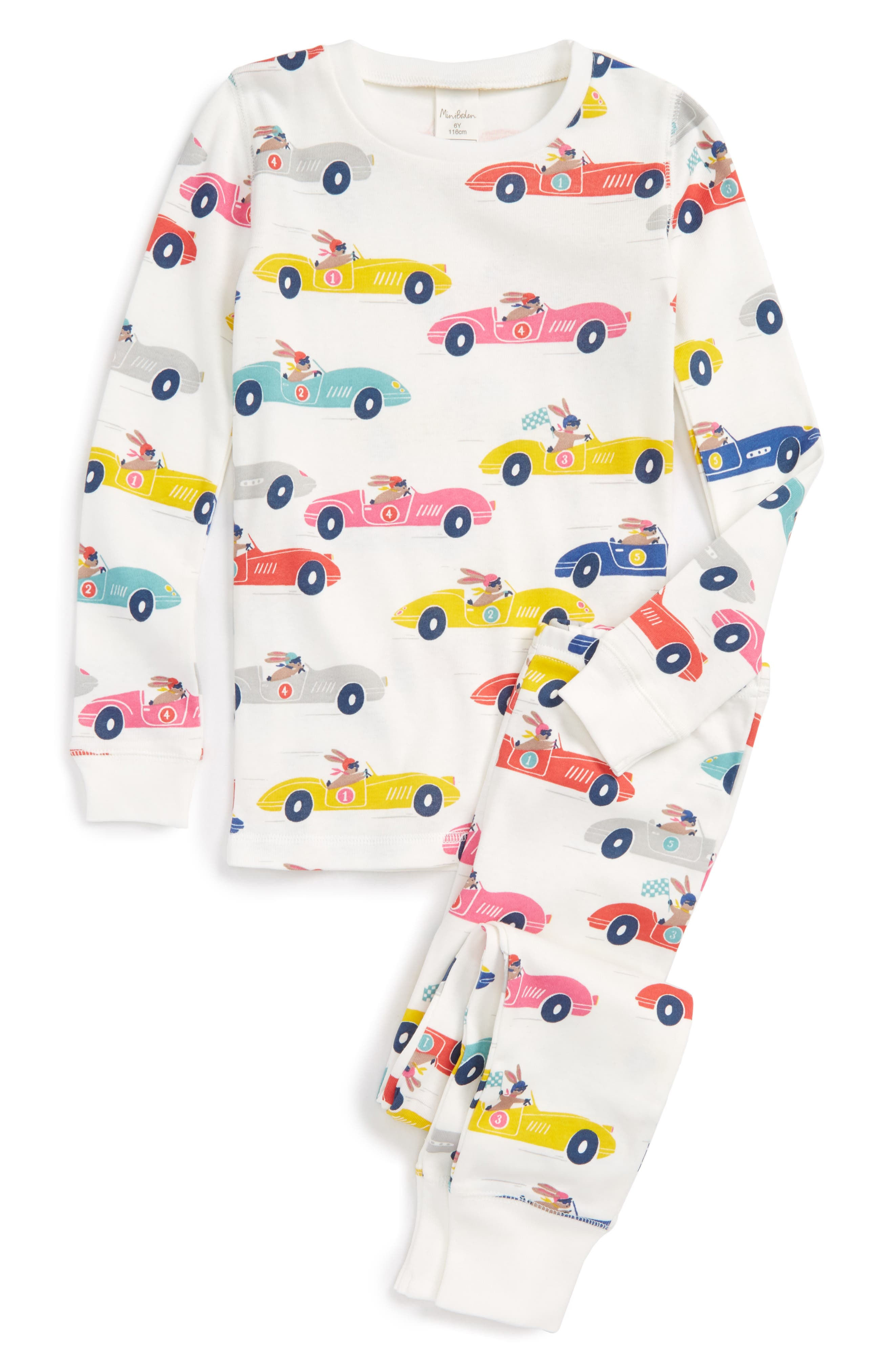 Fitted Two-Piece Pajamas,                         Main,                         color, Mlt Multi Bunny Racer