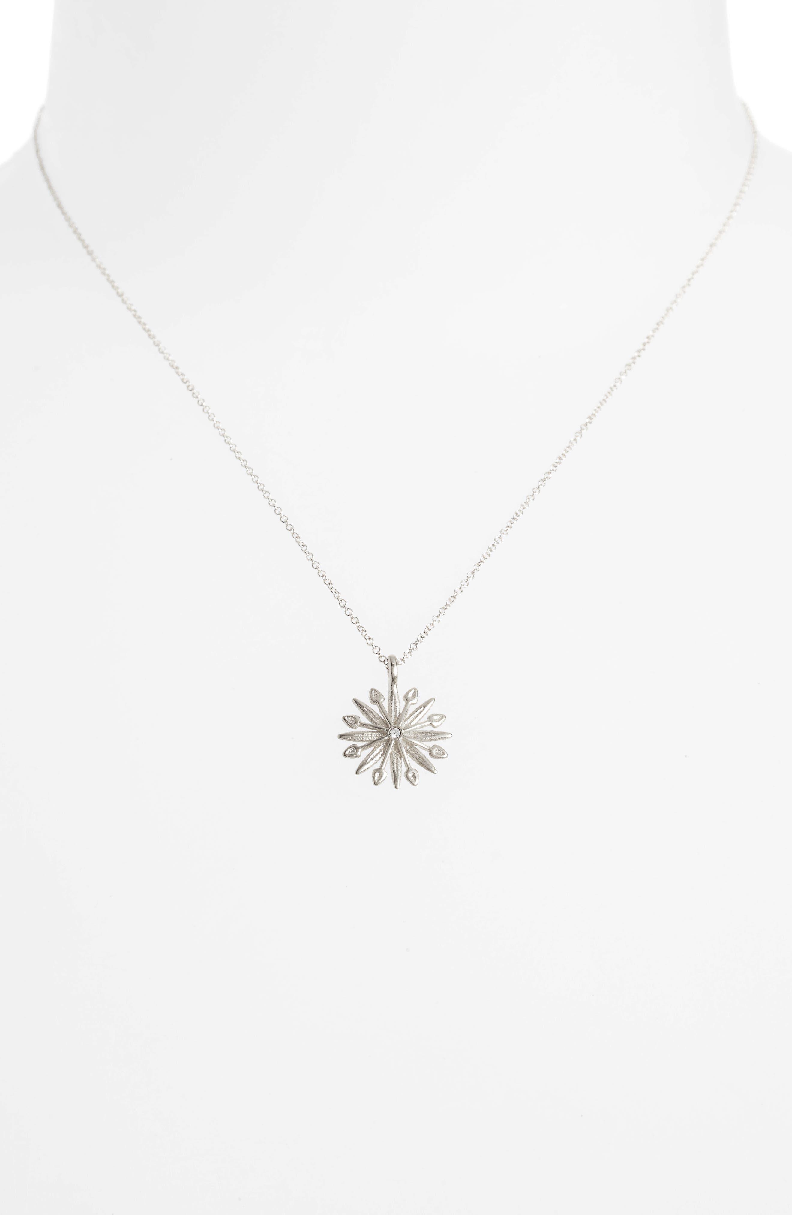 Starburst Charm Pendant Necklace,                             Alternate thumbnail 2, color,                             Silver