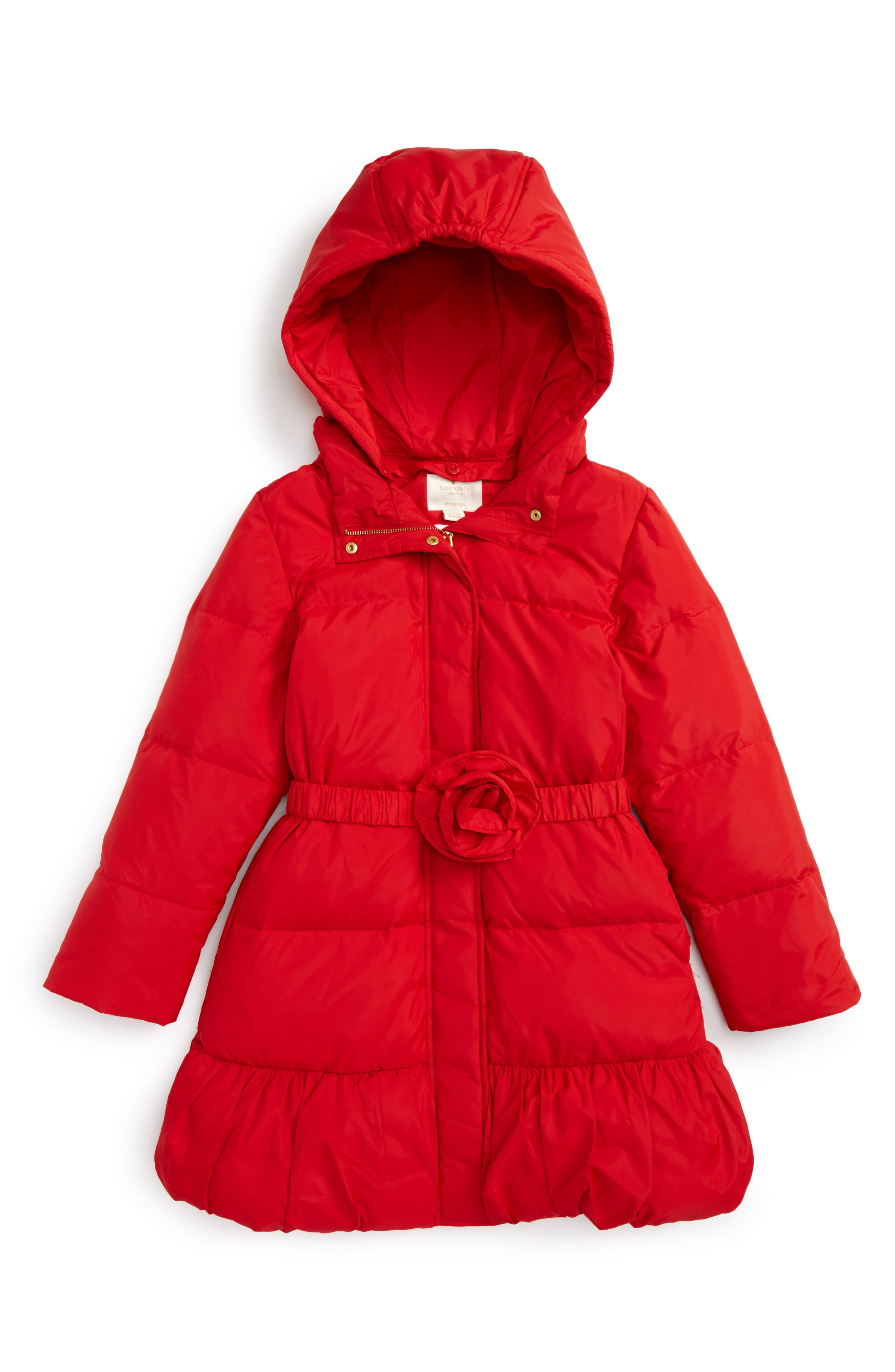 rosette down puffer jacket,                         Main,                         color, Studio Red