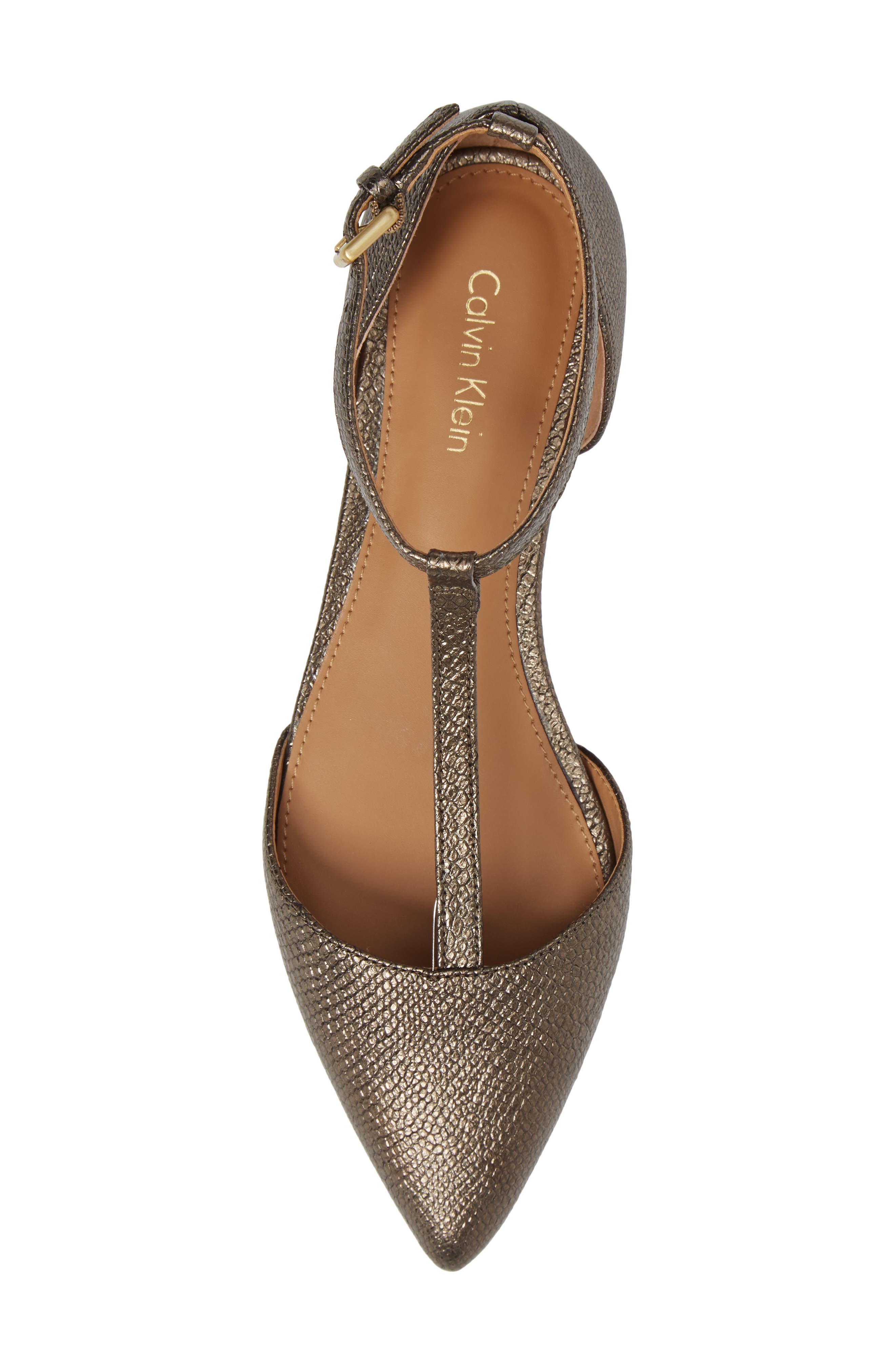 'Ghita' T-Strap Flat,                             Alternate thumbnail 5, color,                             Gold Foiled Leather