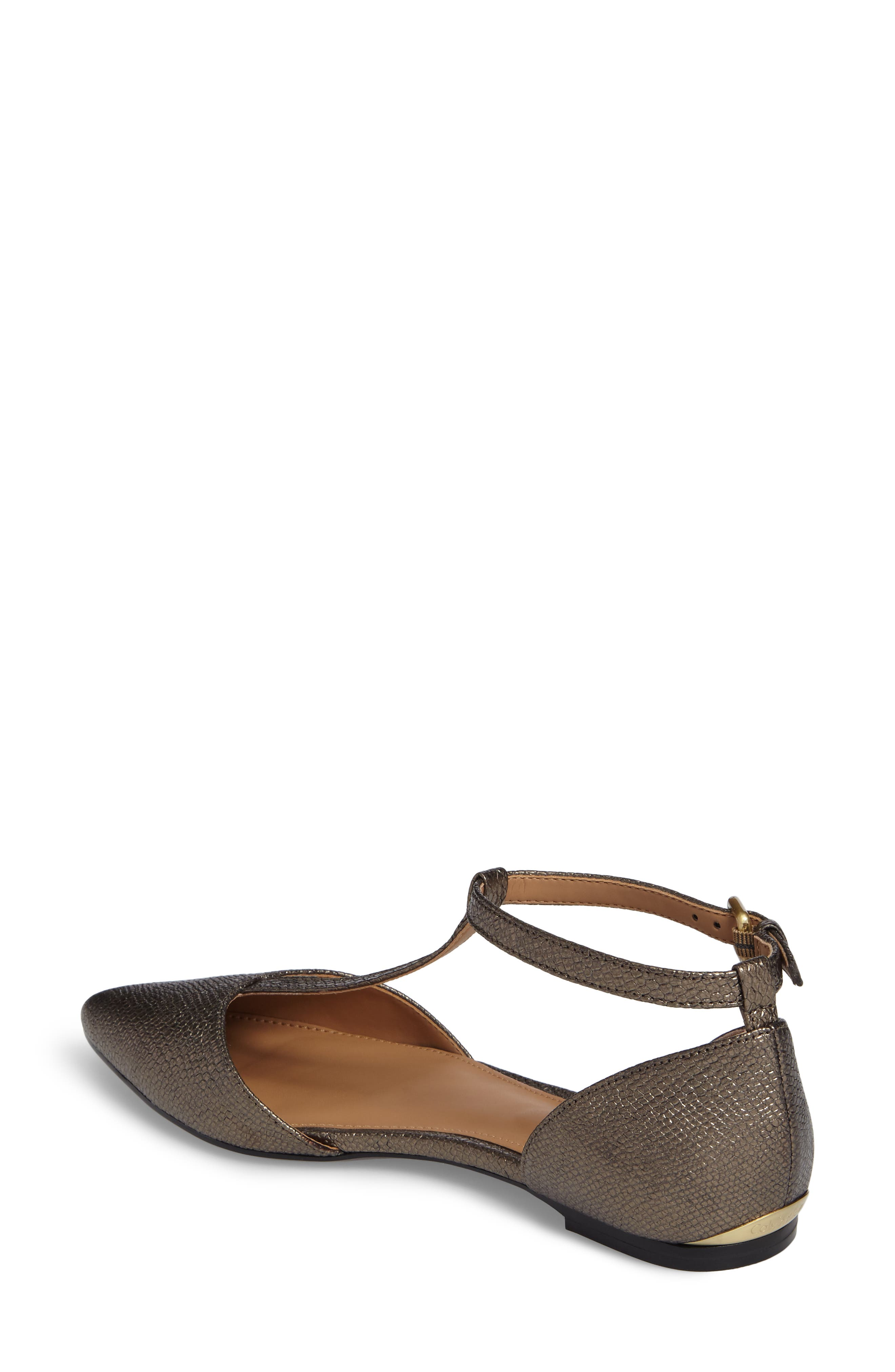 'Ghita' T-Strap Flat,                             Alternate thumbnail 2, color,                             Gold Foiled Leather