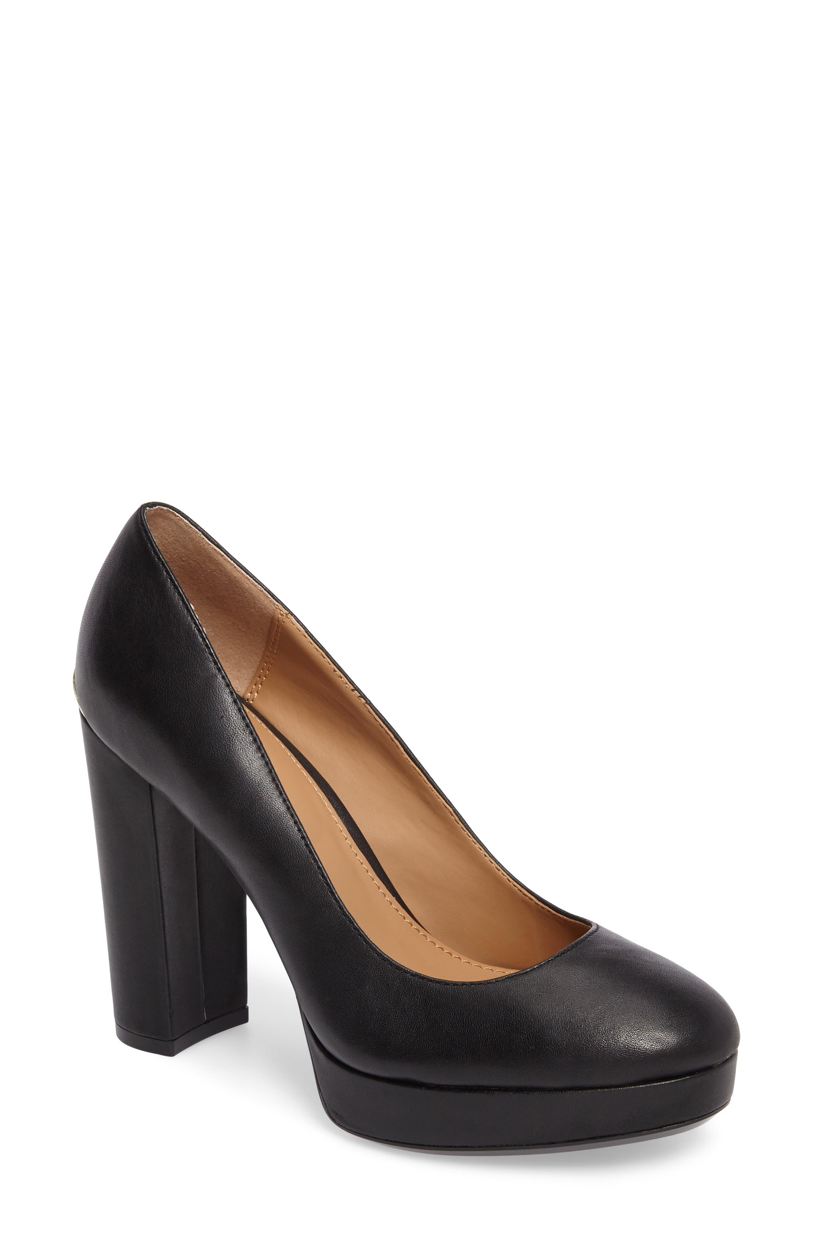 Monica Pump,                         Main,                         color, Black Leather