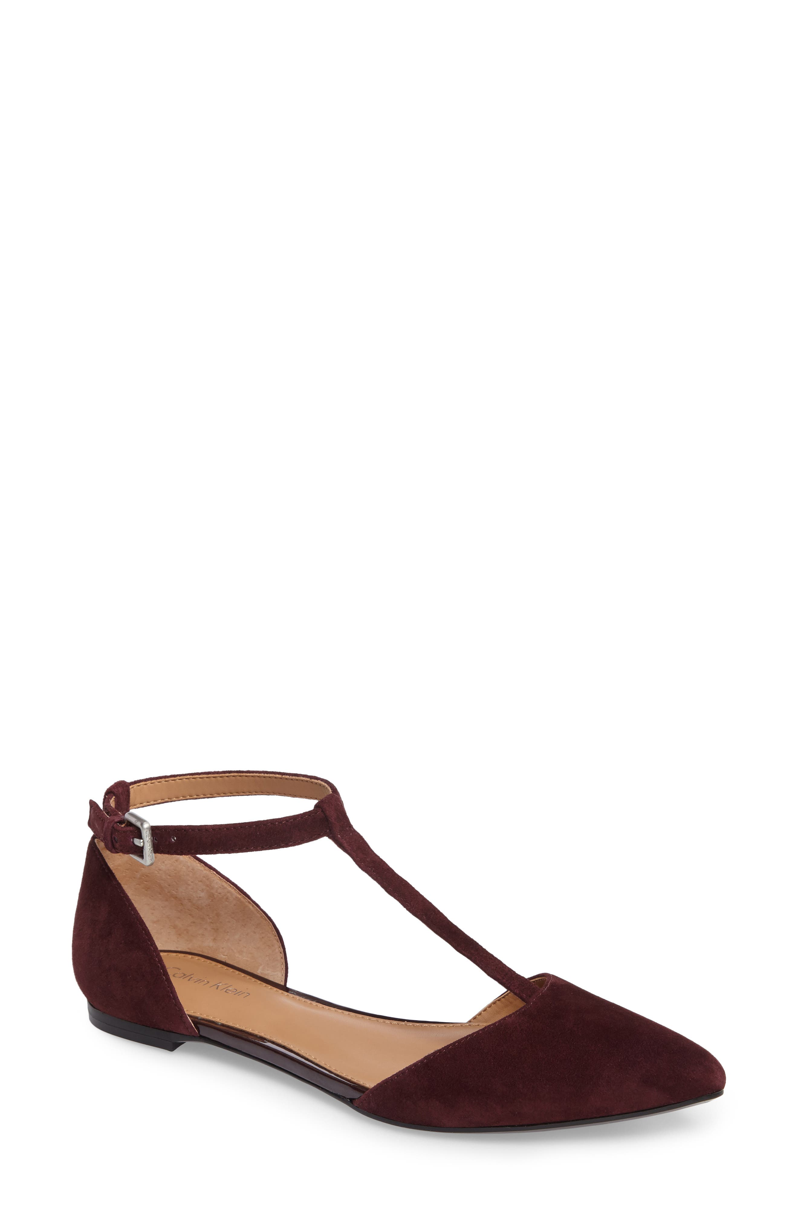 Alternate Image 1 Selected - Calvin Klein 'Ghita' T-Strap Flat (Women)
