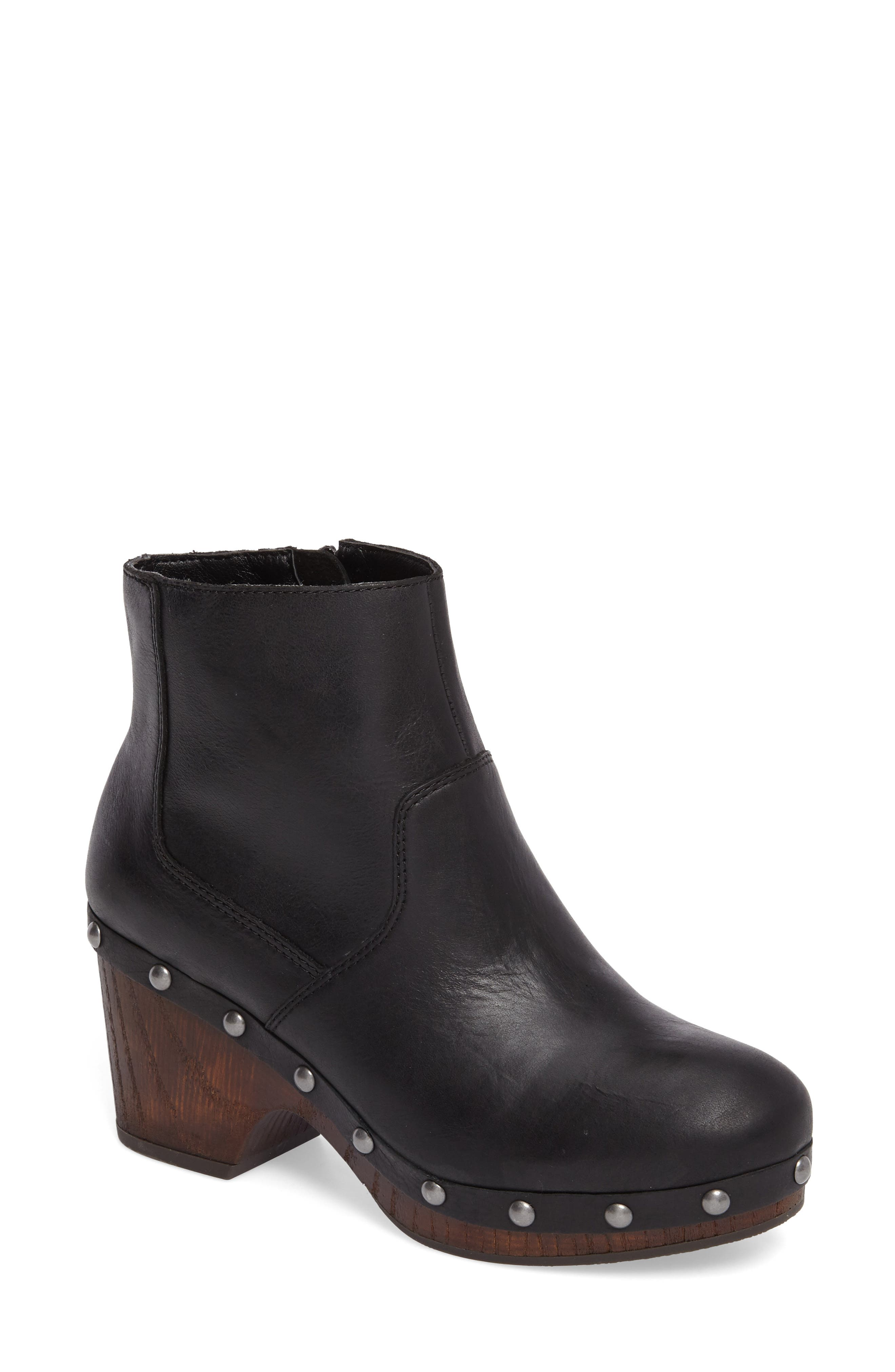Yasamin Bootie,                             Main thumbnail 1, color,                             Black Leather