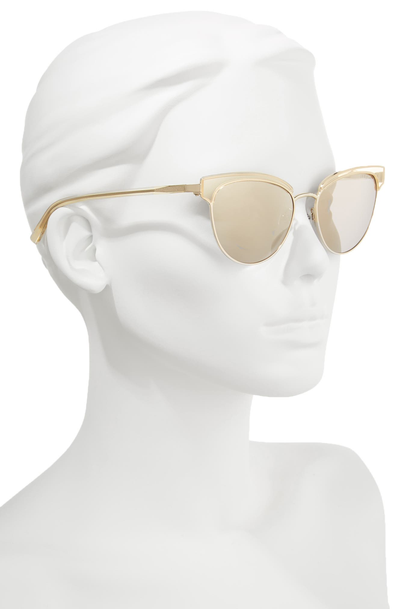 55mm Mirrored Semi Rimless Cat Eye Sunglasses,                             Alternate thumbnail 2, color,                             Gold