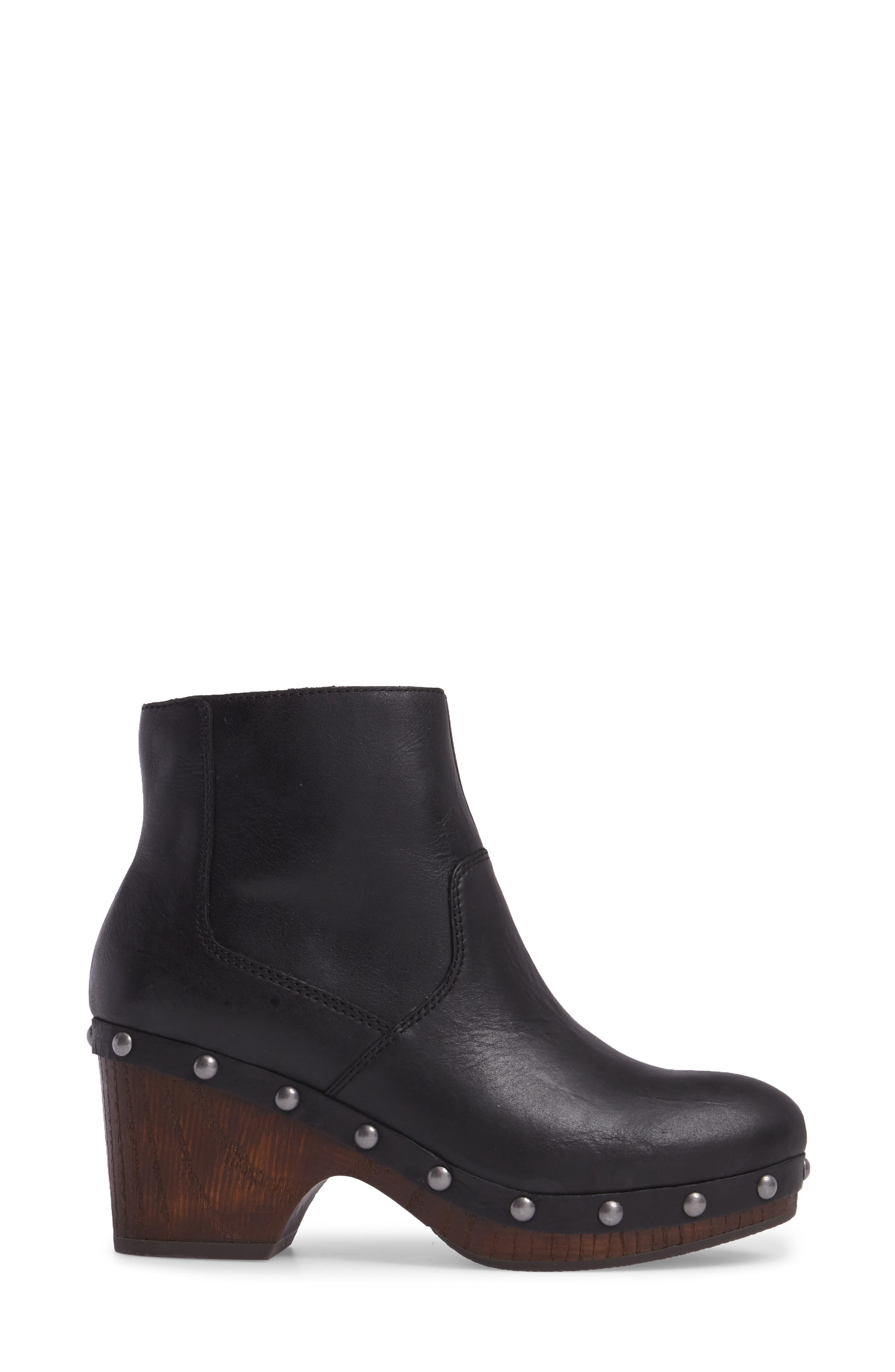 Yasamin Bootie,                             Alternate thumbnail 3, color,                             Black Leather