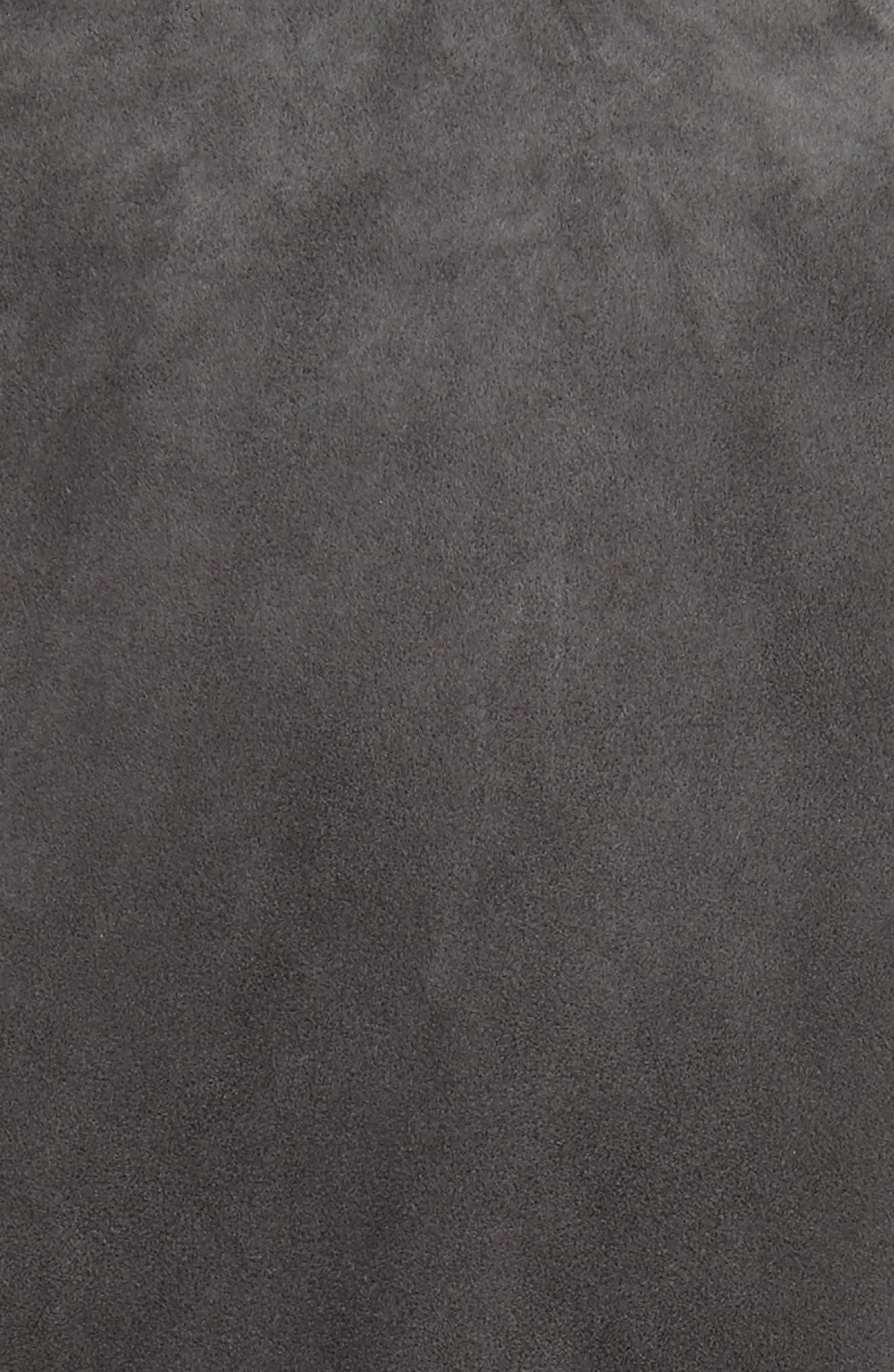 John Varvatos Suede Moto Jacket,                             Alternate thumbnail 5, color,                             Typhon Grey