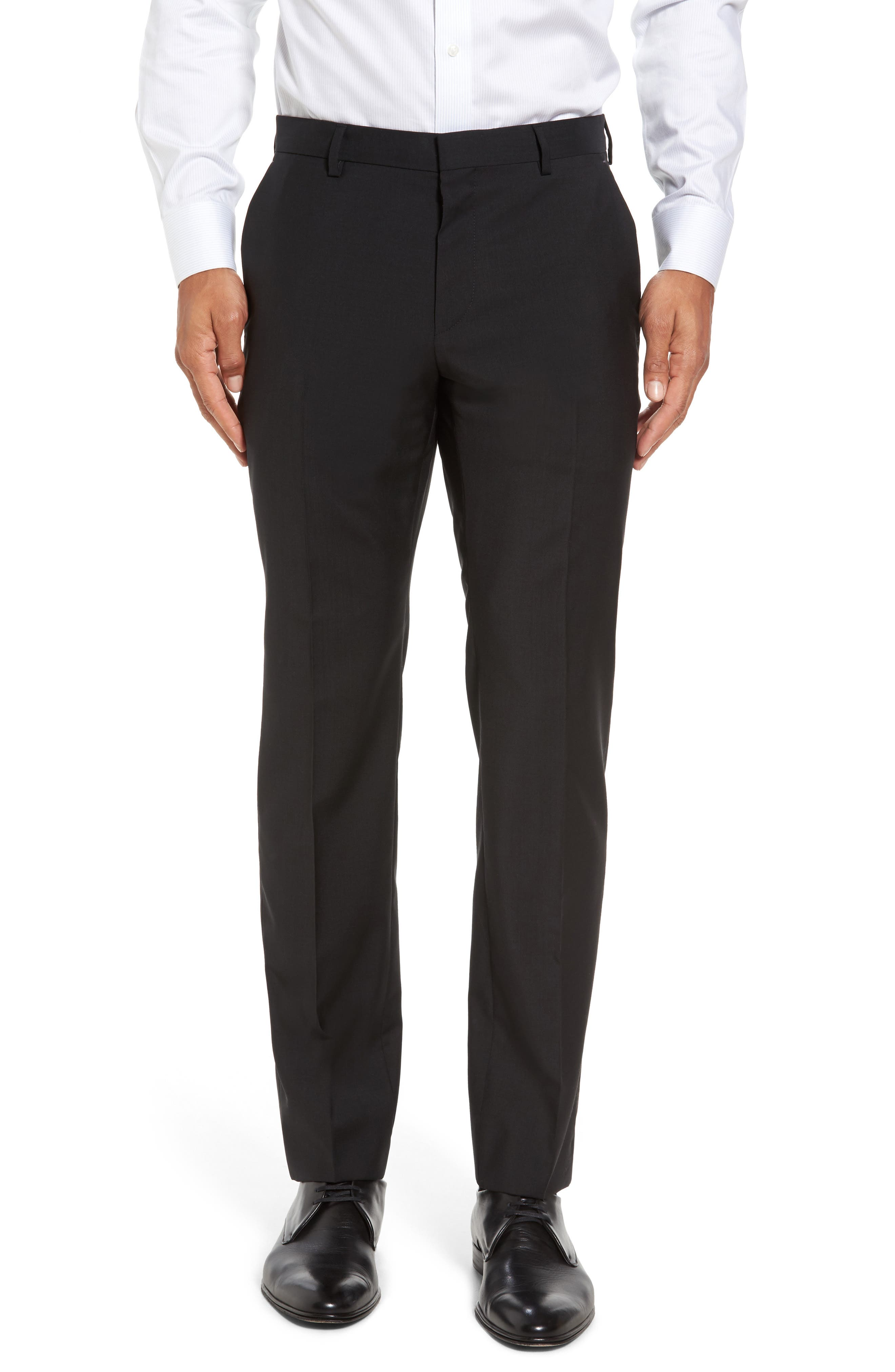 Alternate Image 1 Selected - BOSS 'Genesis' Flat Front Wool Trousers