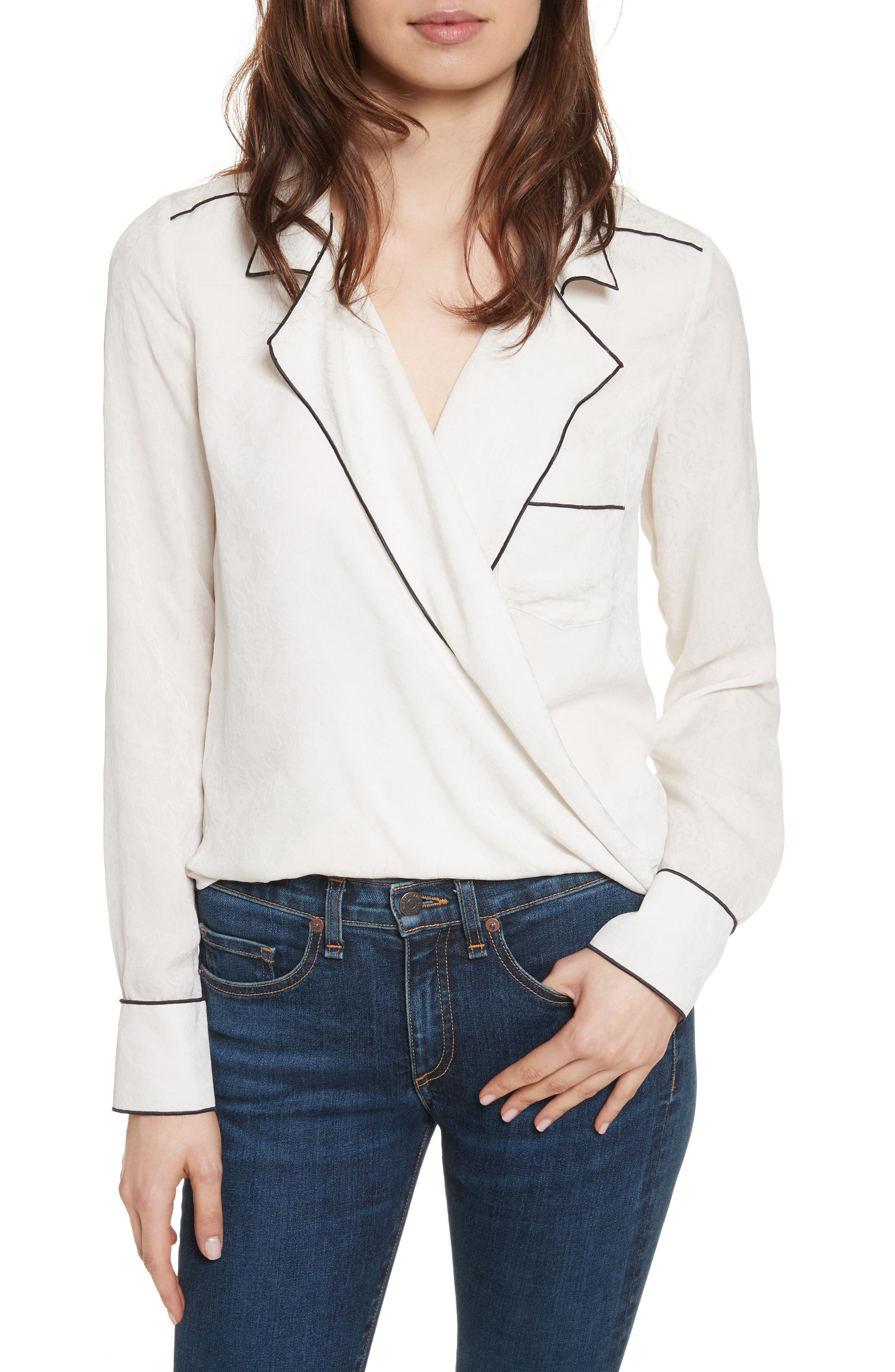 Worth Silk Blouse,                         Main,                         color, Off-White