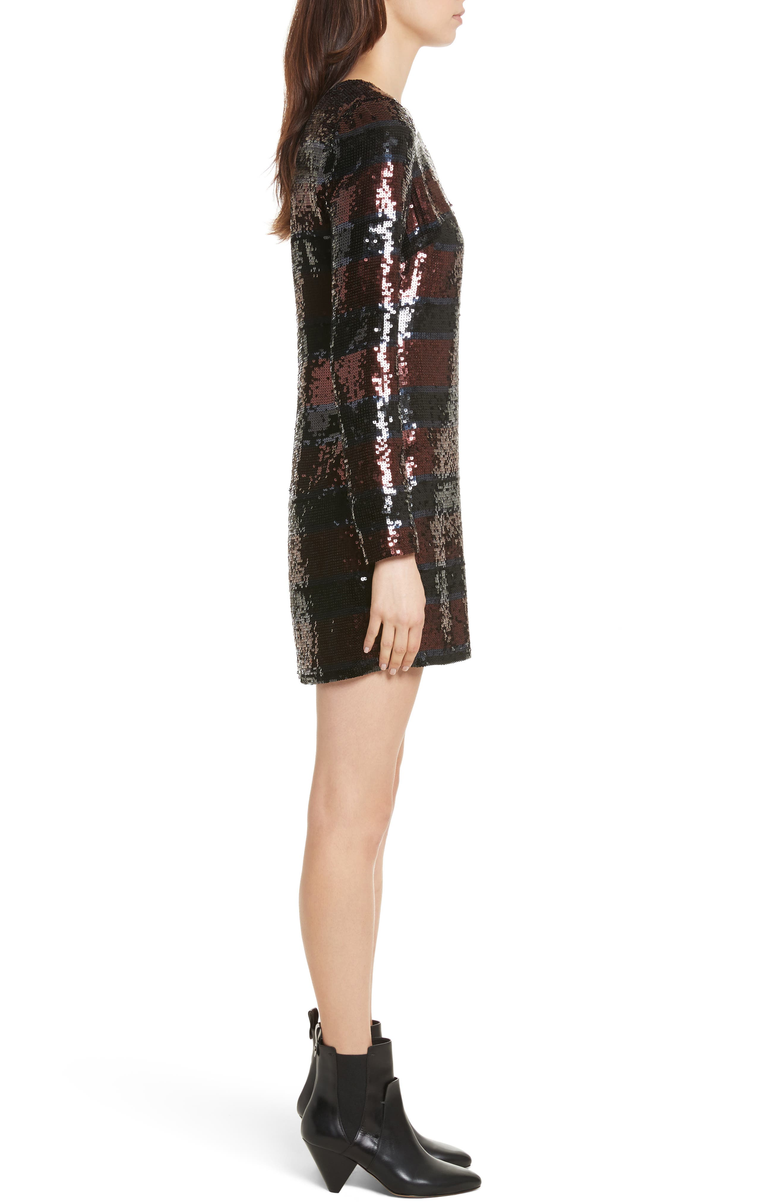 Breakers Sequin Dress,                             Alternate thumbnail 3, color,                             Dark Red/ Black