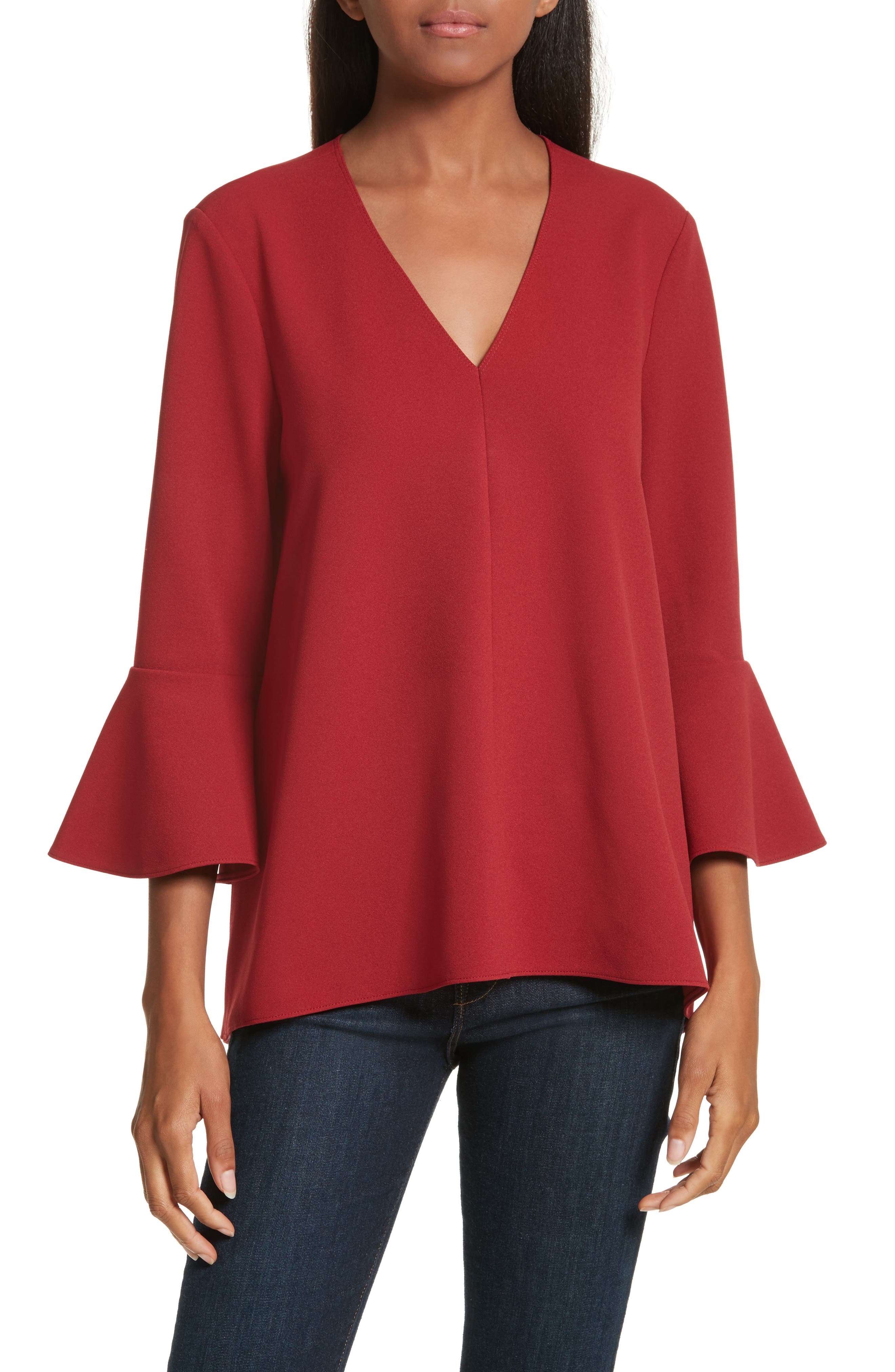 Ruffle Sleeve Stretch Crepe Top,                         Main,                         color, Burt Red