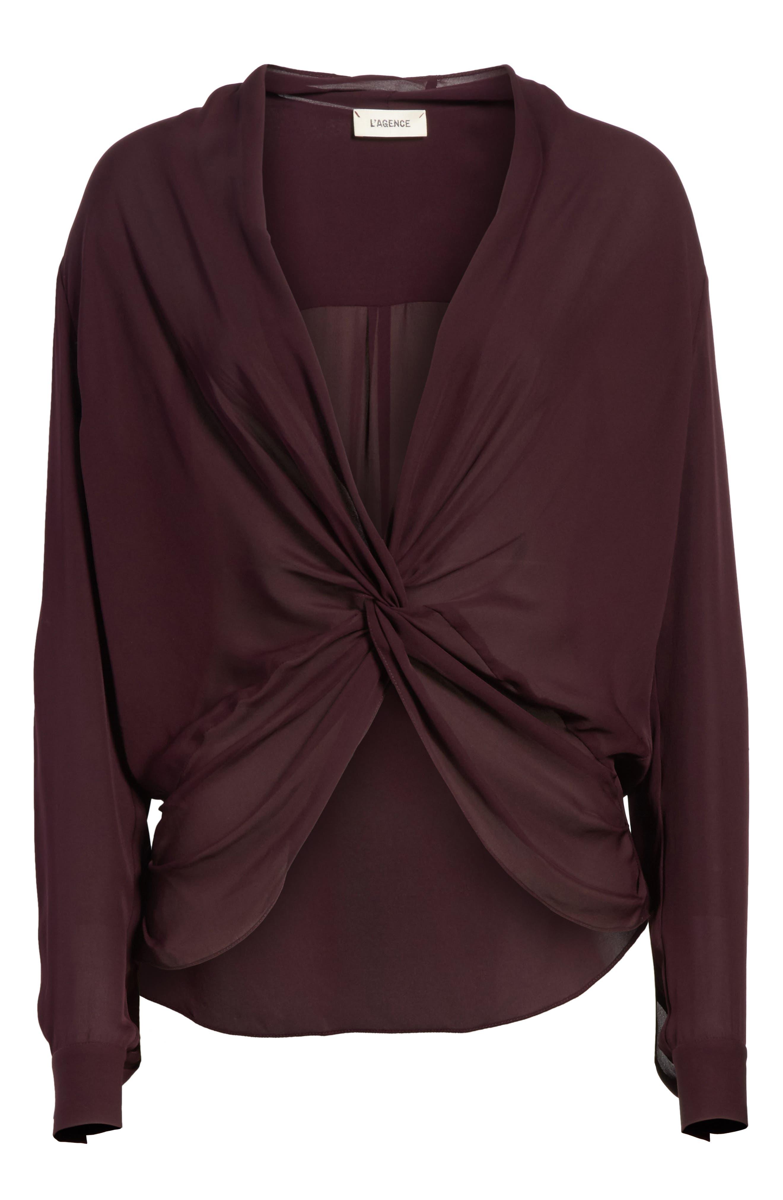 Alternate Image 6  - L'AGENCE Twist Front Silk Blouse