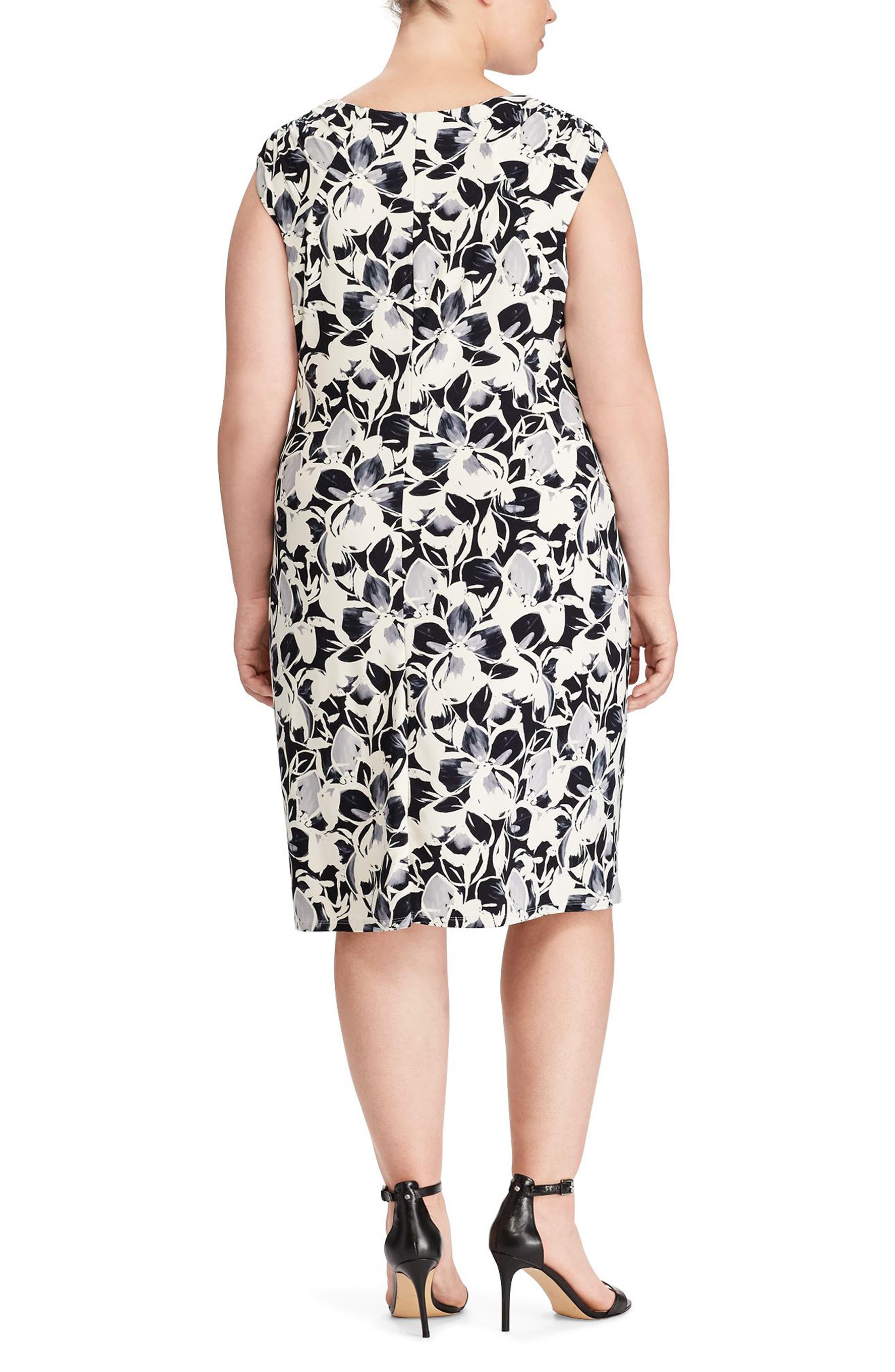 Floral Print Jersey Dress,                             Alternate thumbnail 2, color,                             Lighthouse Navy/ Grey Multi