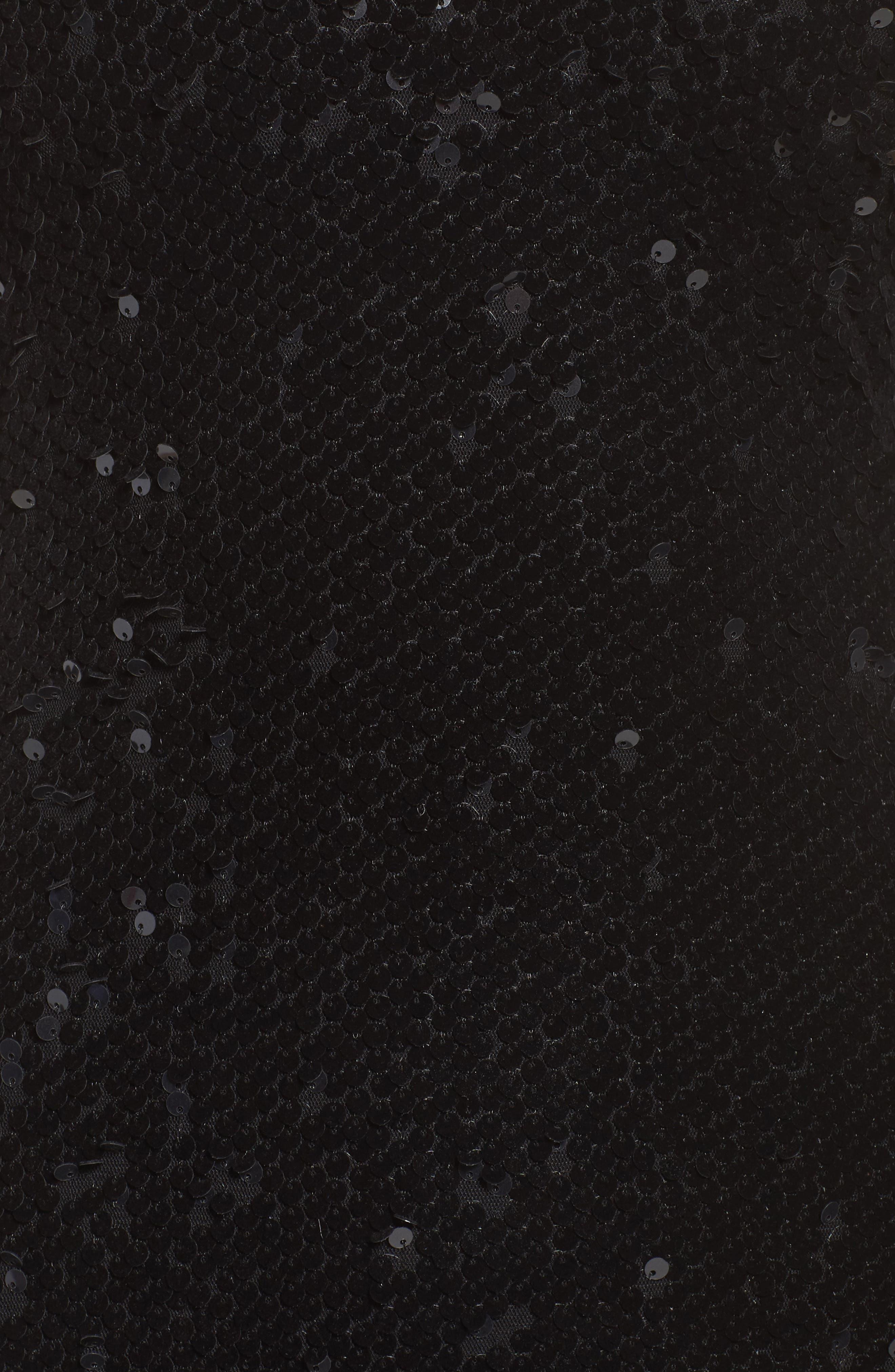 Vanessa Velvet Sequin Gown,                             Alternate thumbnail 6, color,                             Black