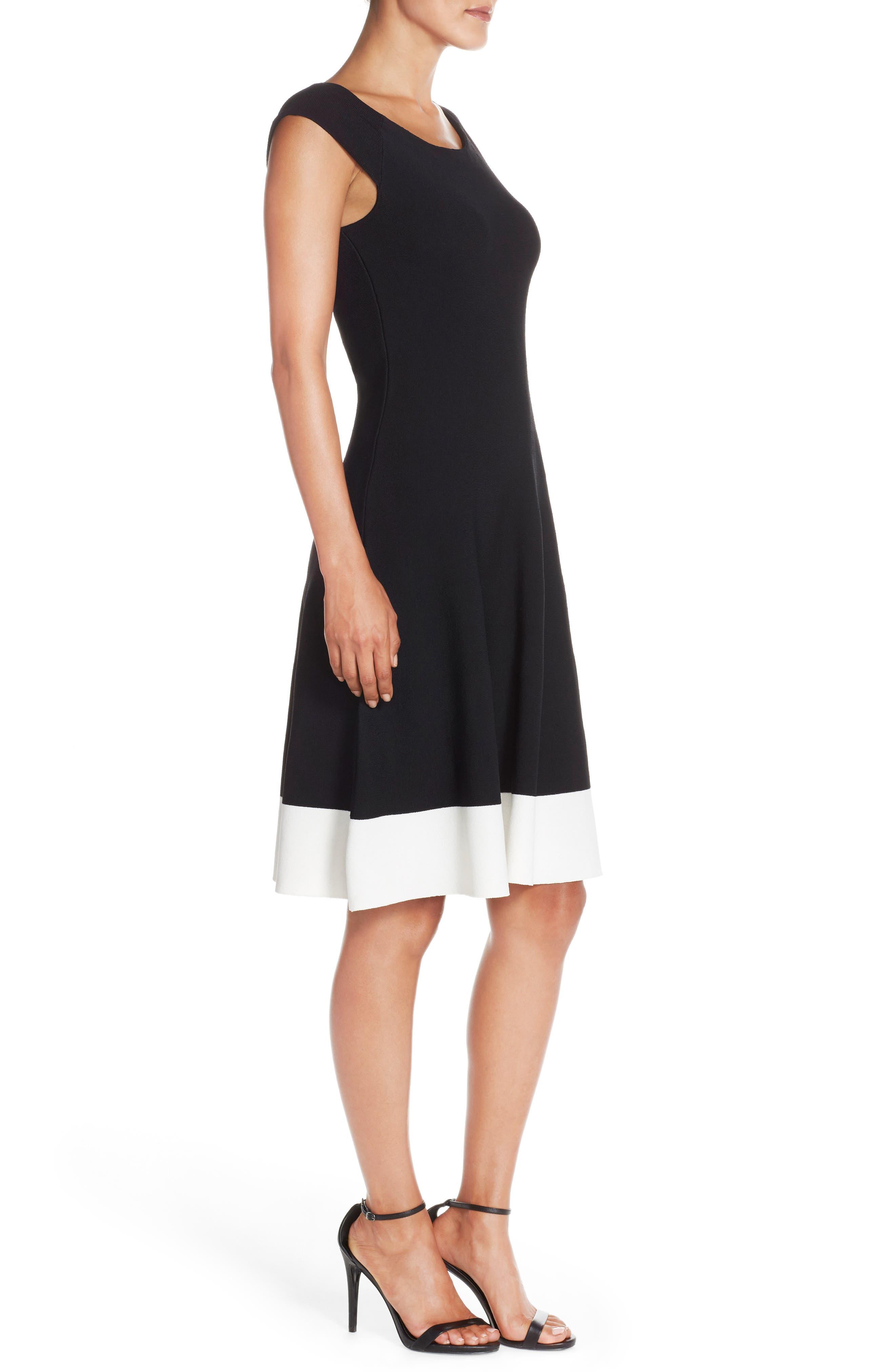 Colorblock Fit & Flare Sweater Dress,                             Alternate thumbnail 3, color,                             Black/ Ivory