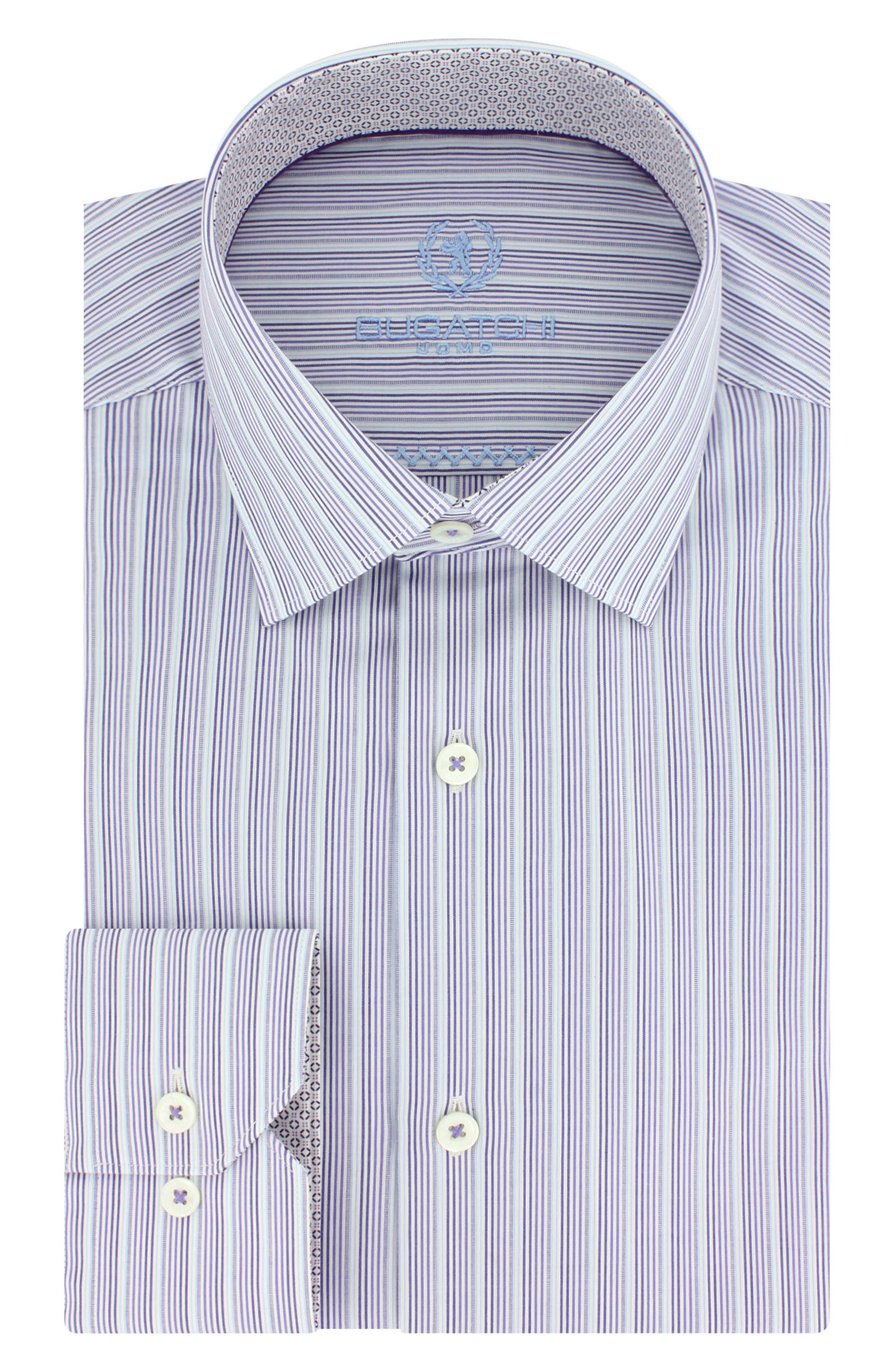 Main Image - Bugatchi Trim Fit Stripe Dress Shirt