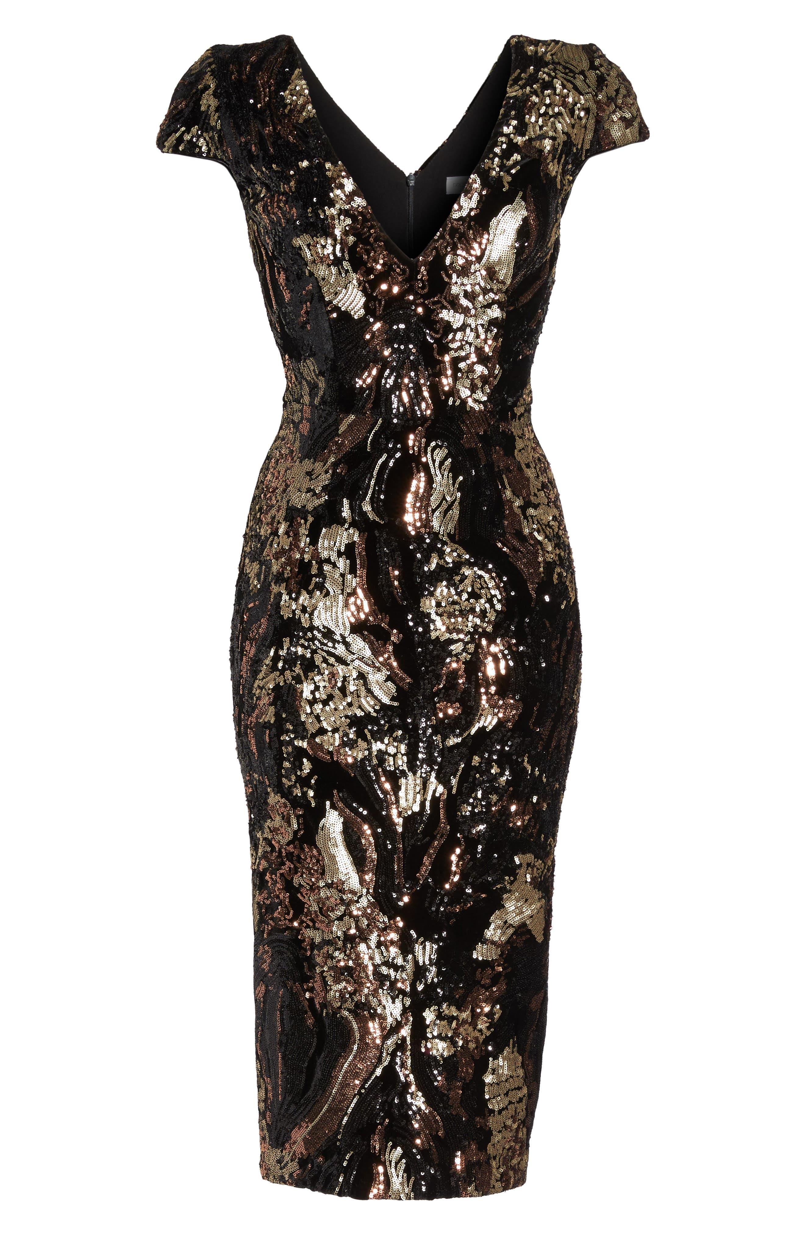 Allison Sequin Velvet Body-Con Dress,                             Alternate thumbnail 7, color,                             Black/ Bronze