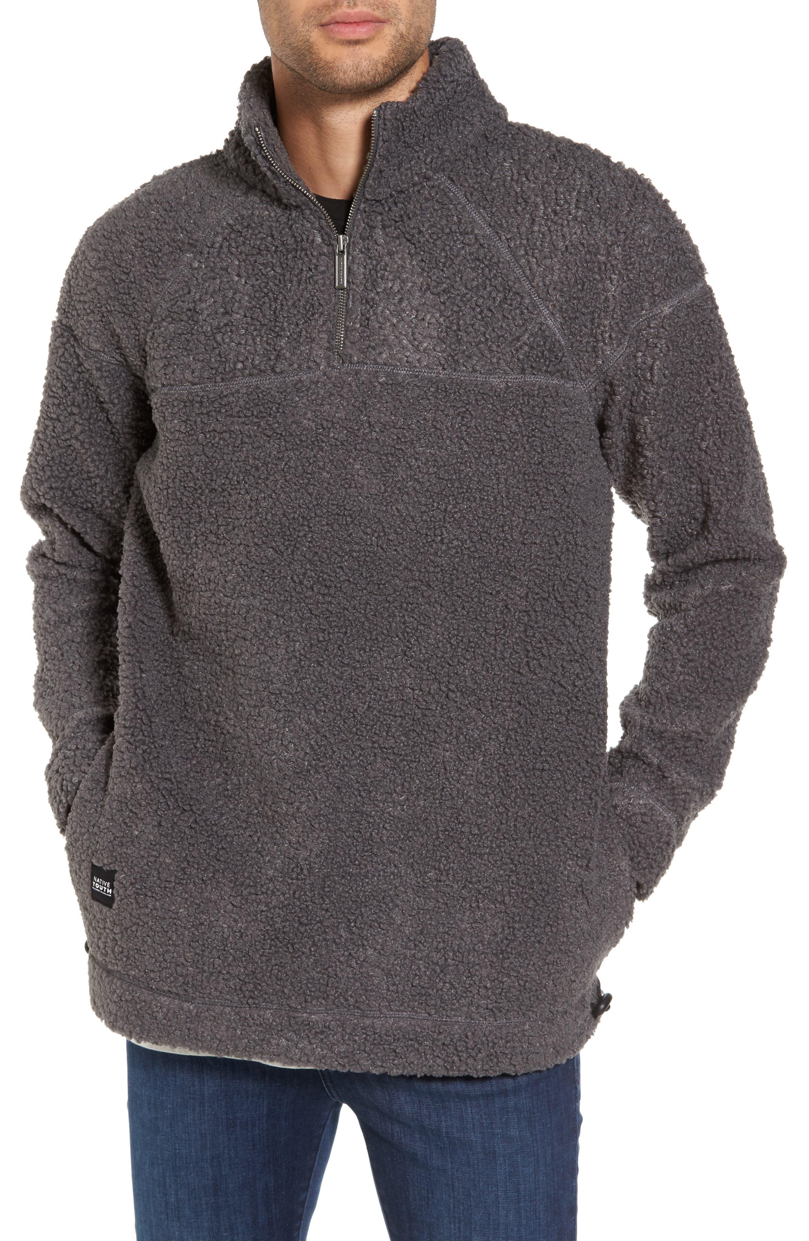 Warlock Faux Shearling Quarter Zip Sweater,                         Main,                         color, Charcoal