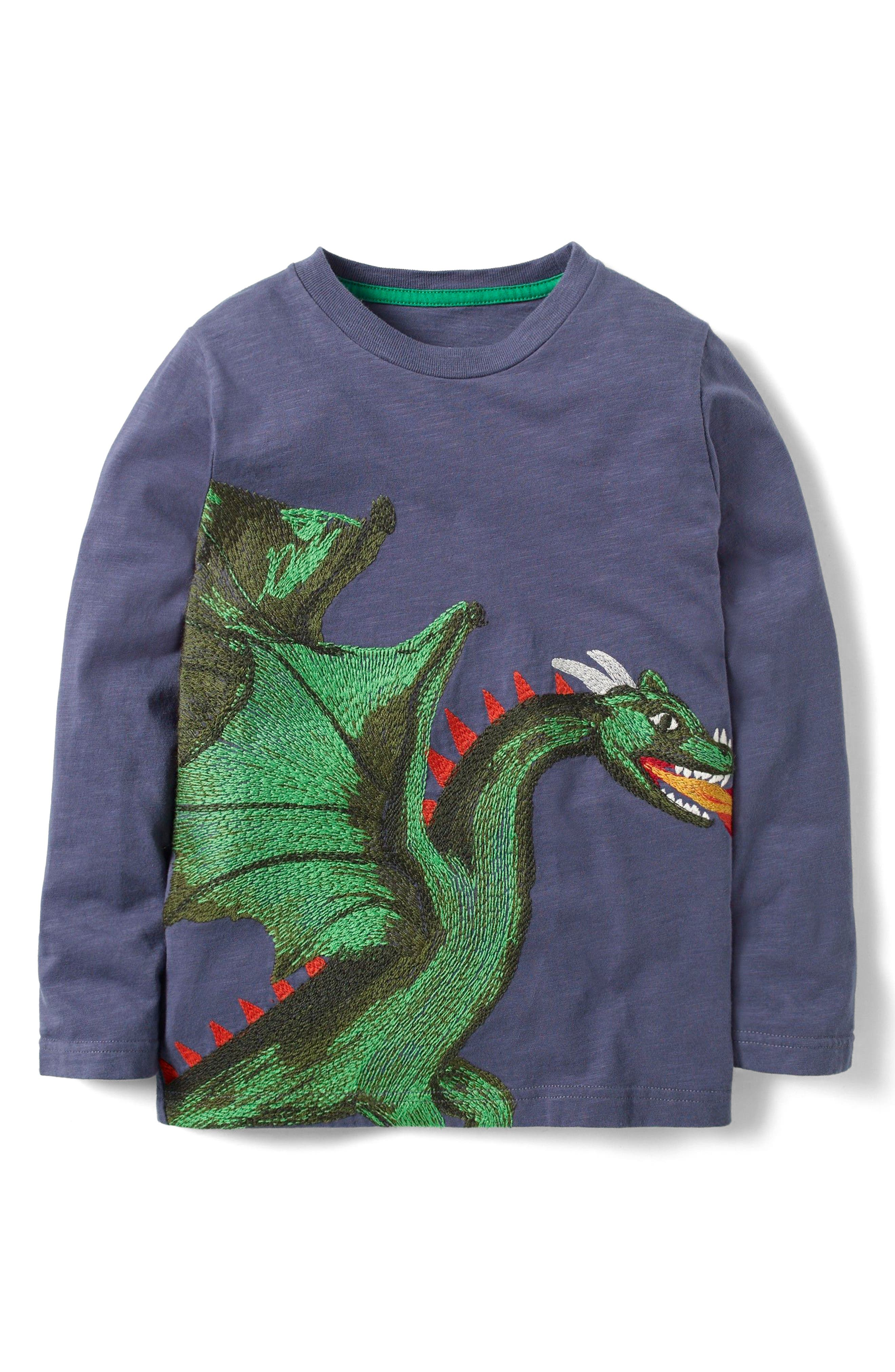 Mythical Superstitch T-Shirt,                             Main thumbnail 1, color,                             Charcoal Grey Marl Dragon